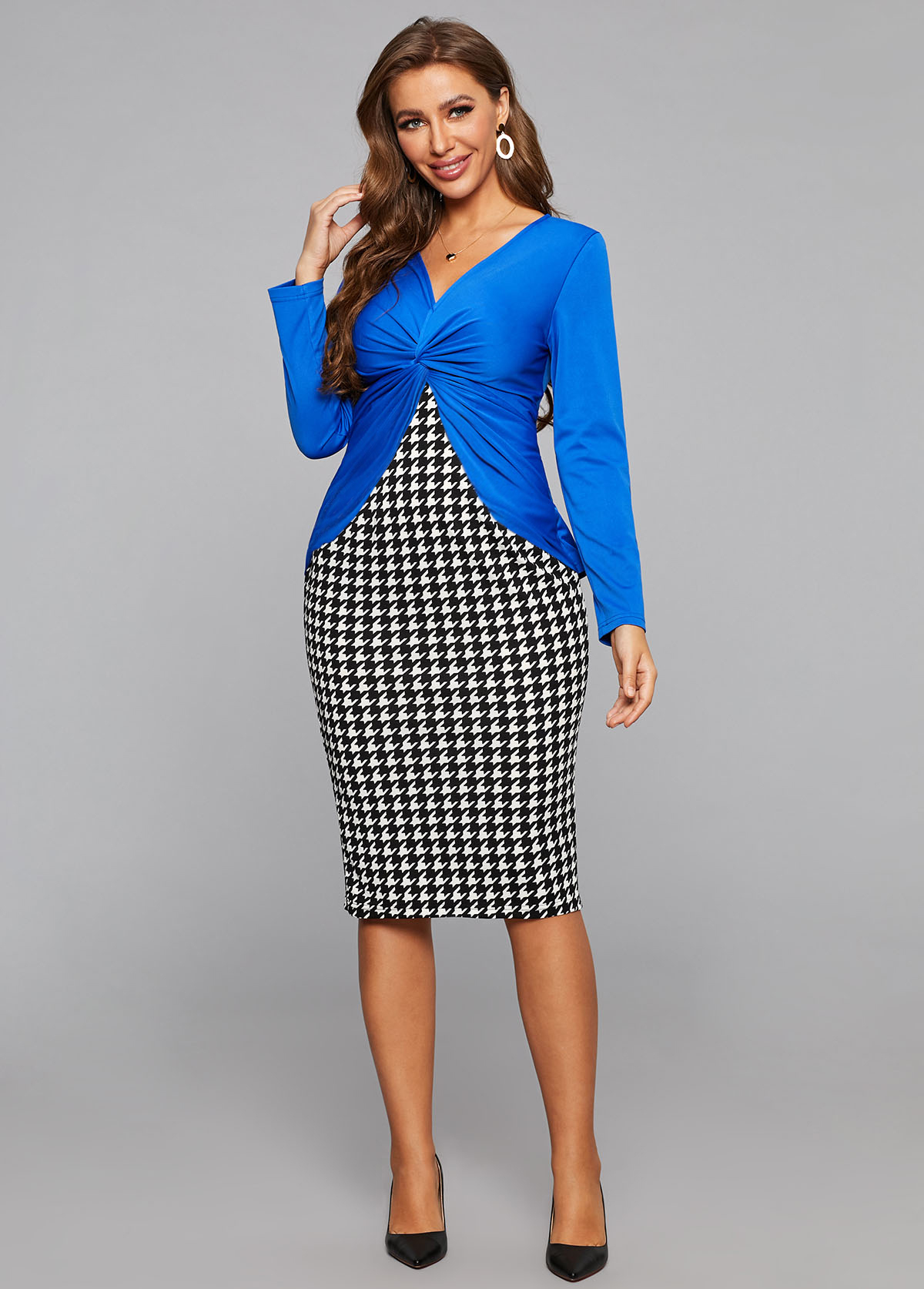 ROTITA Houndstooth Print Faux Two Piece Twist Front Dress