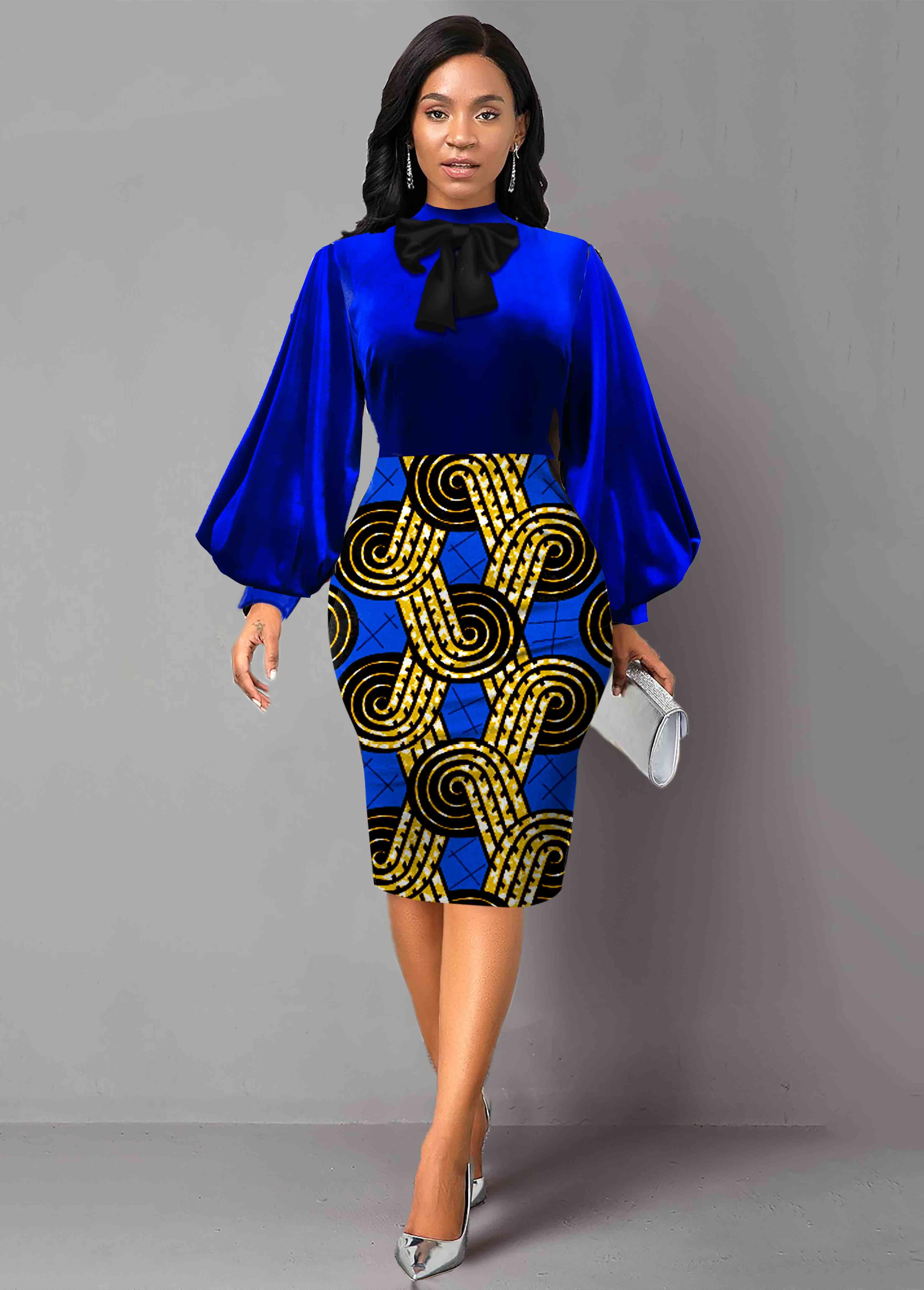 ROTITA Geometric Print Bowknot Lantern Sleeve Velvet Dress