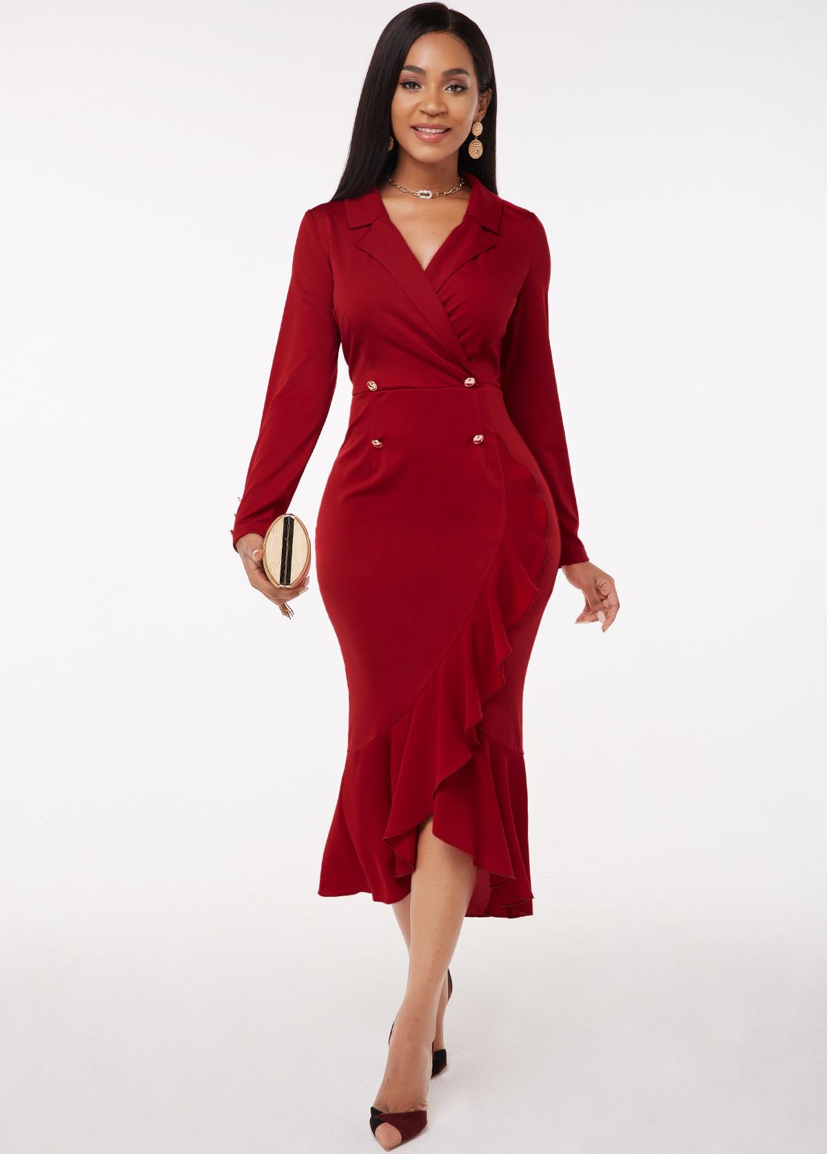 ROTITA Long Sleeve Flounce Button Detail Notch Collar Dress