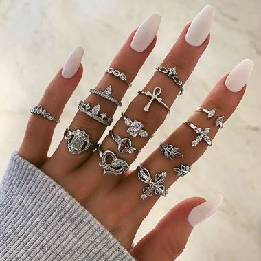 Leaf and Heart Shape Rhinestone Silver Ring Set