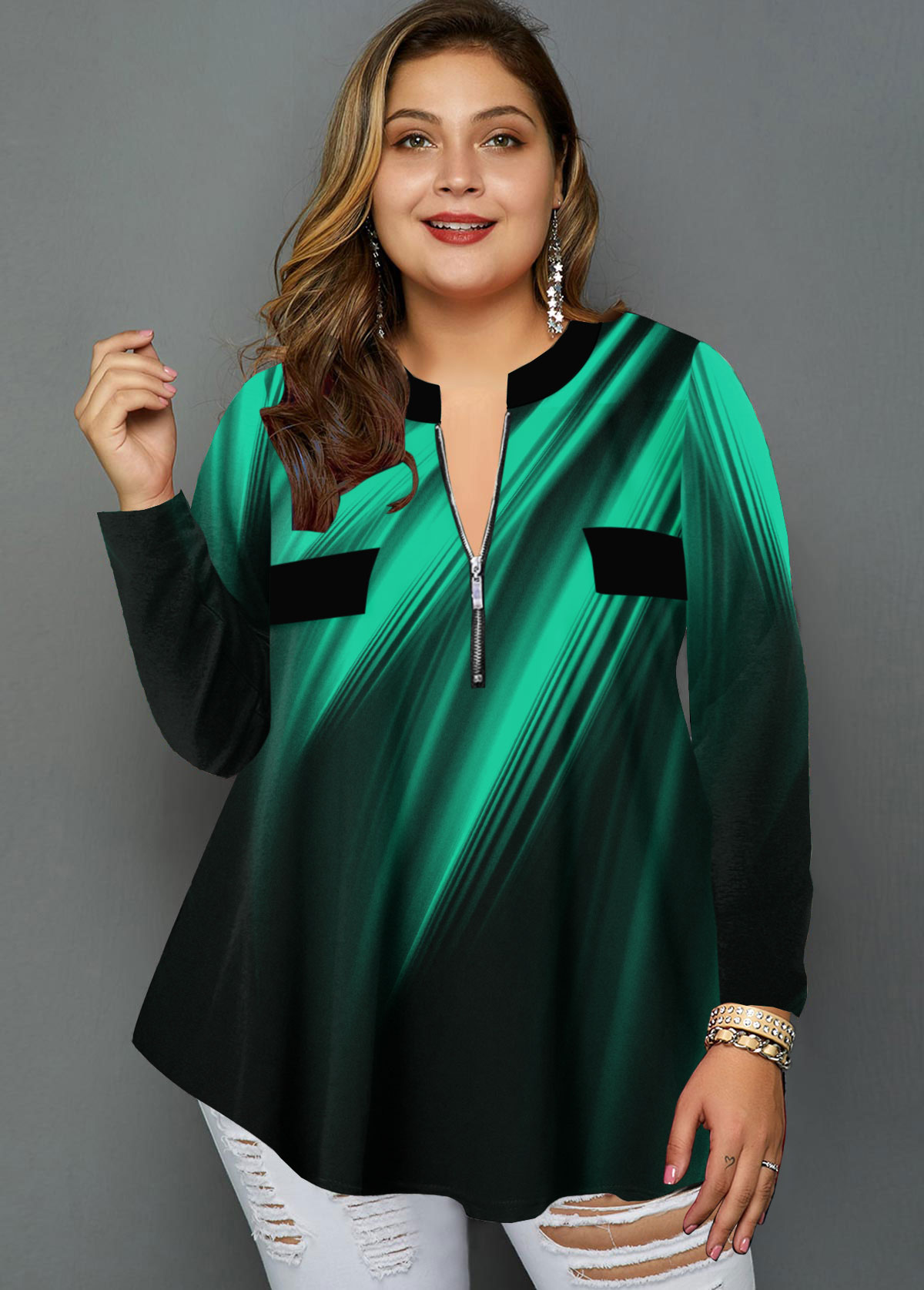 ROTITA Plus Size Printed Quarter Zip Blouse