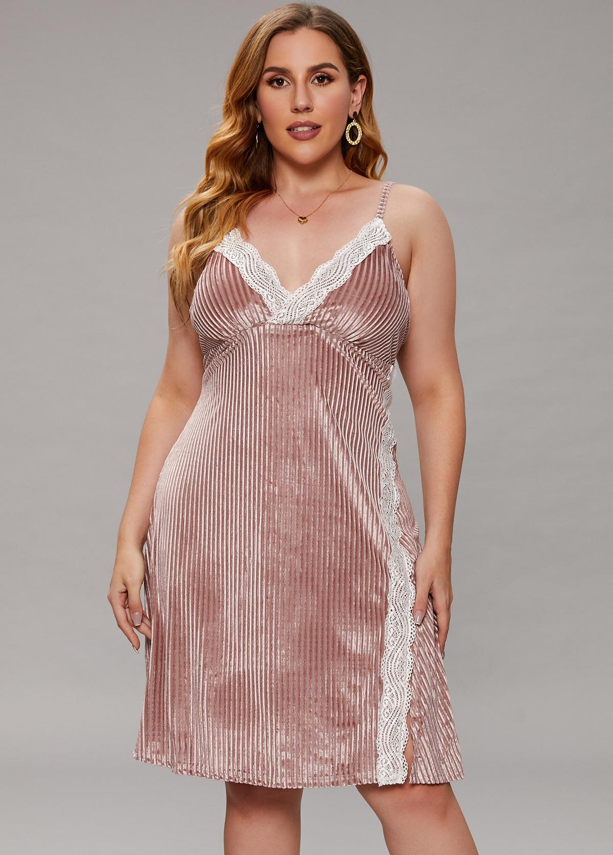 Plus Size Spaghetti Strap Lace Stitching Nightdress