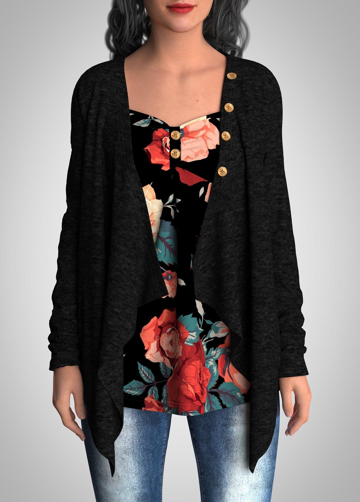 ROTITA Floral Print Faux Two Piece Button Tunic Top