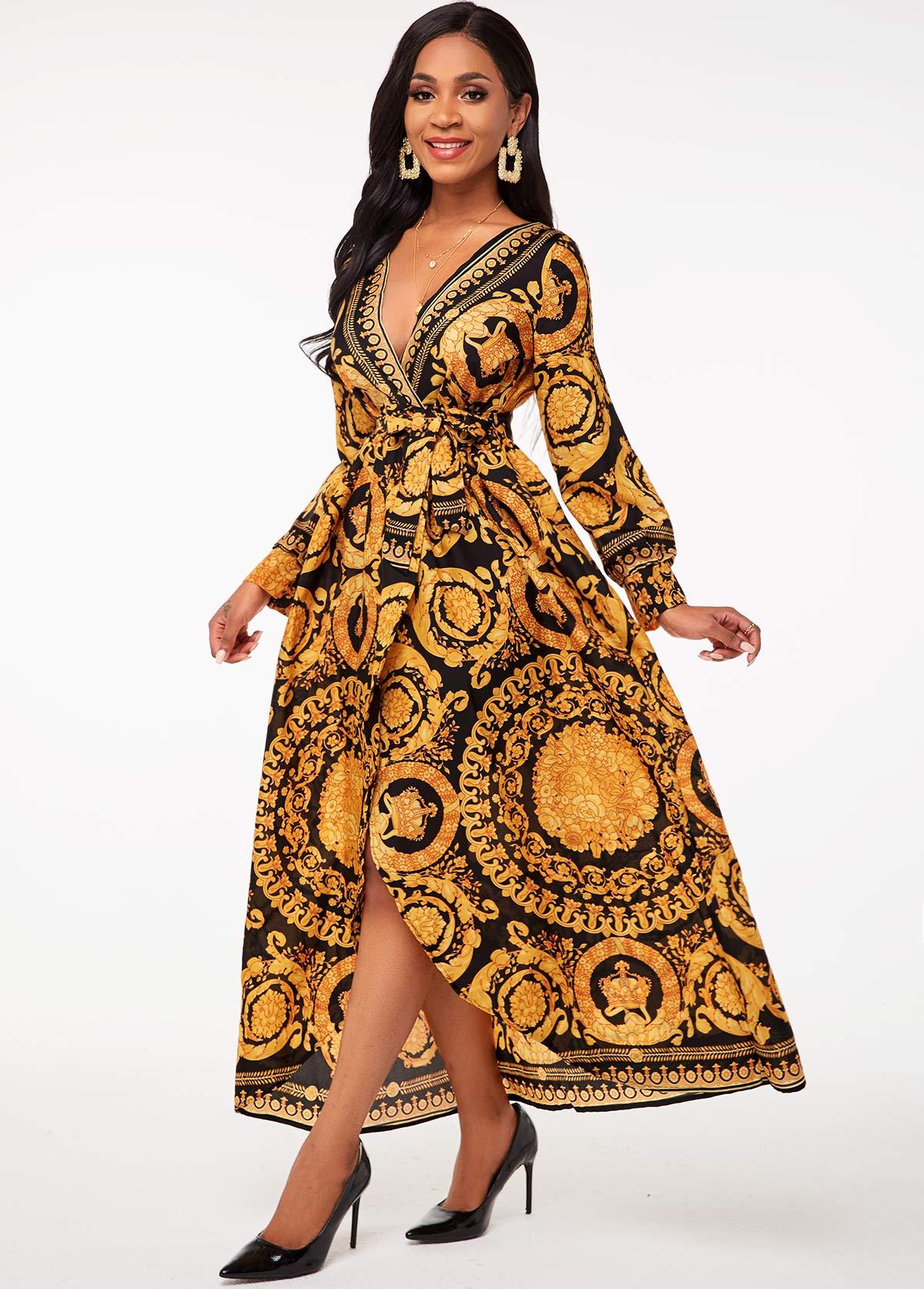 Bohemian Print V Neck Belted Dress