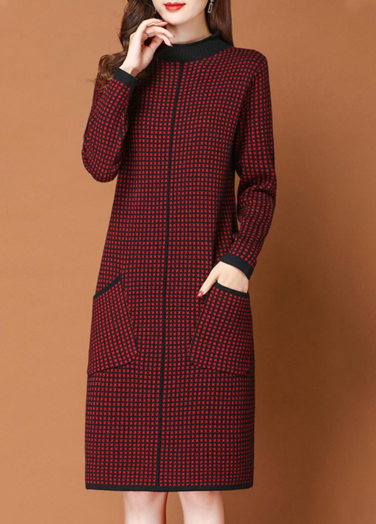 Side Pocket Long Sleeve Sweater Dress