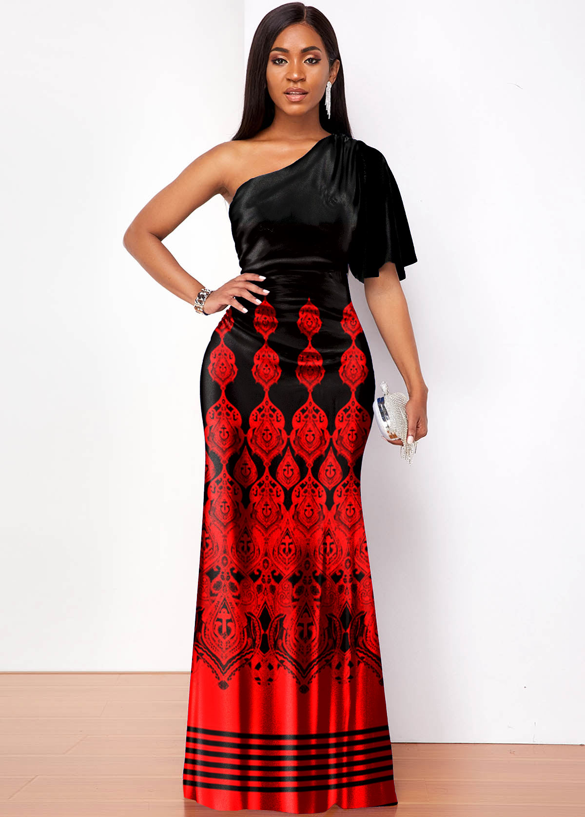 ROTITA One Shoulder Tribal Print Butterfly Sleeve Maxi Dress