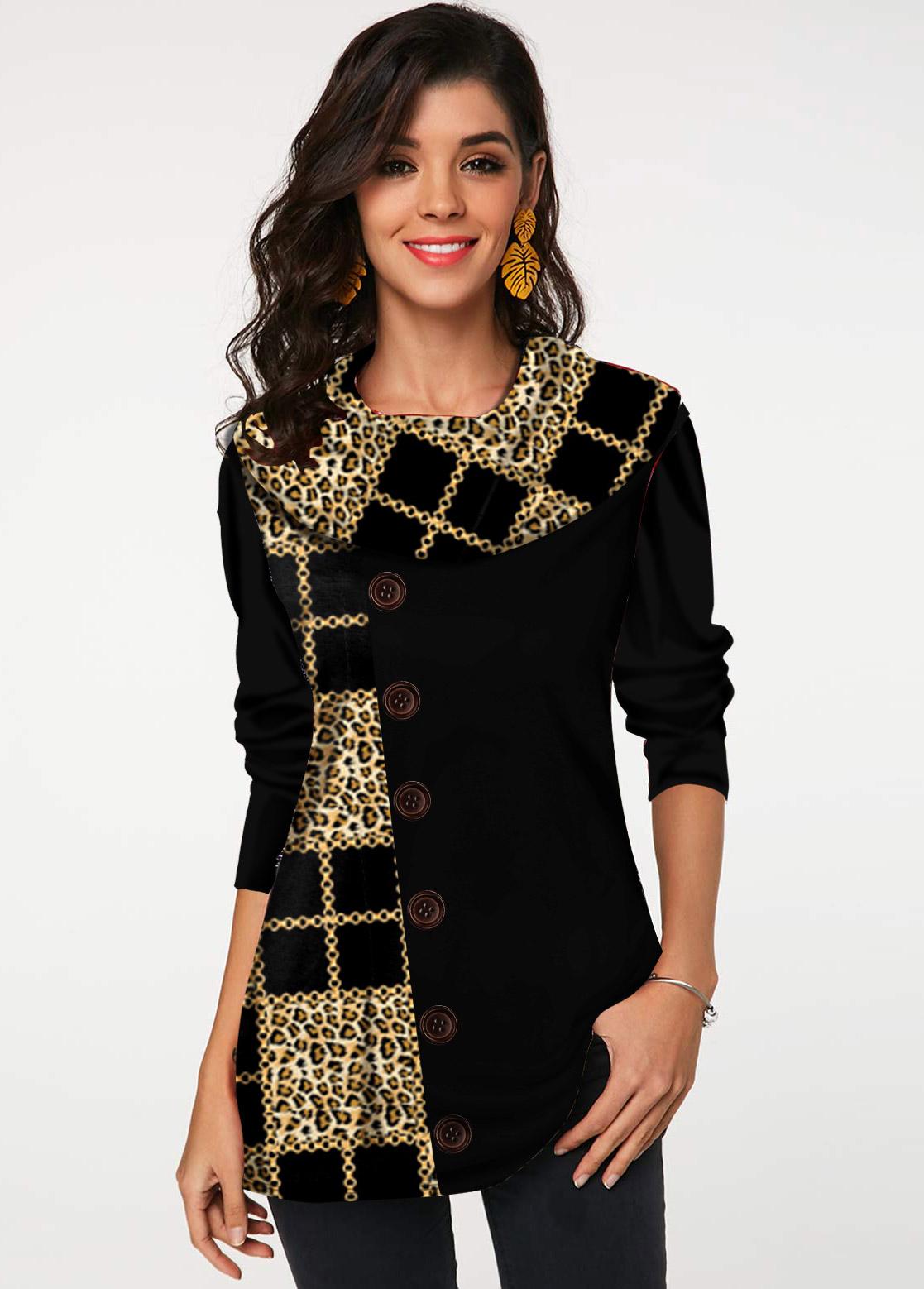ROTITA Button Leopard and Geometric Print Tunic Top