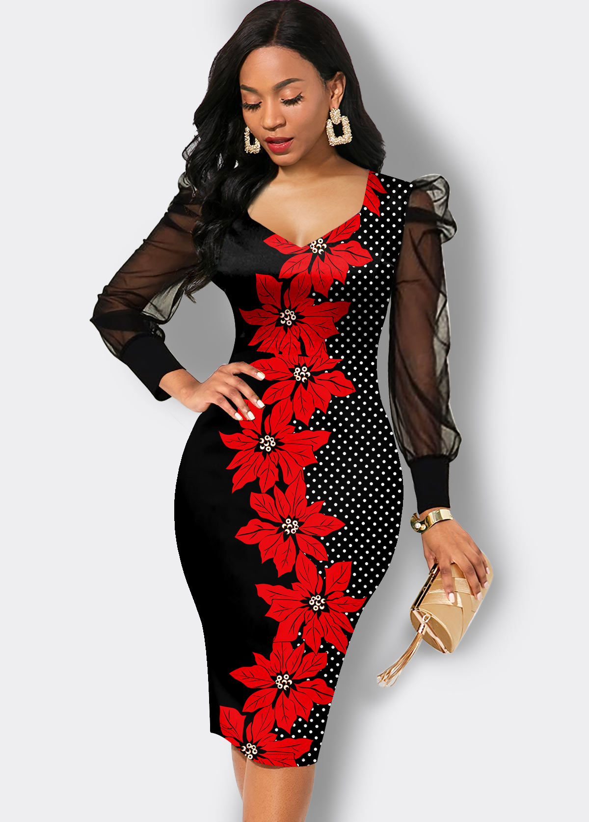 ROTITA Mesh Sleeve Floral Print Sheath Dress