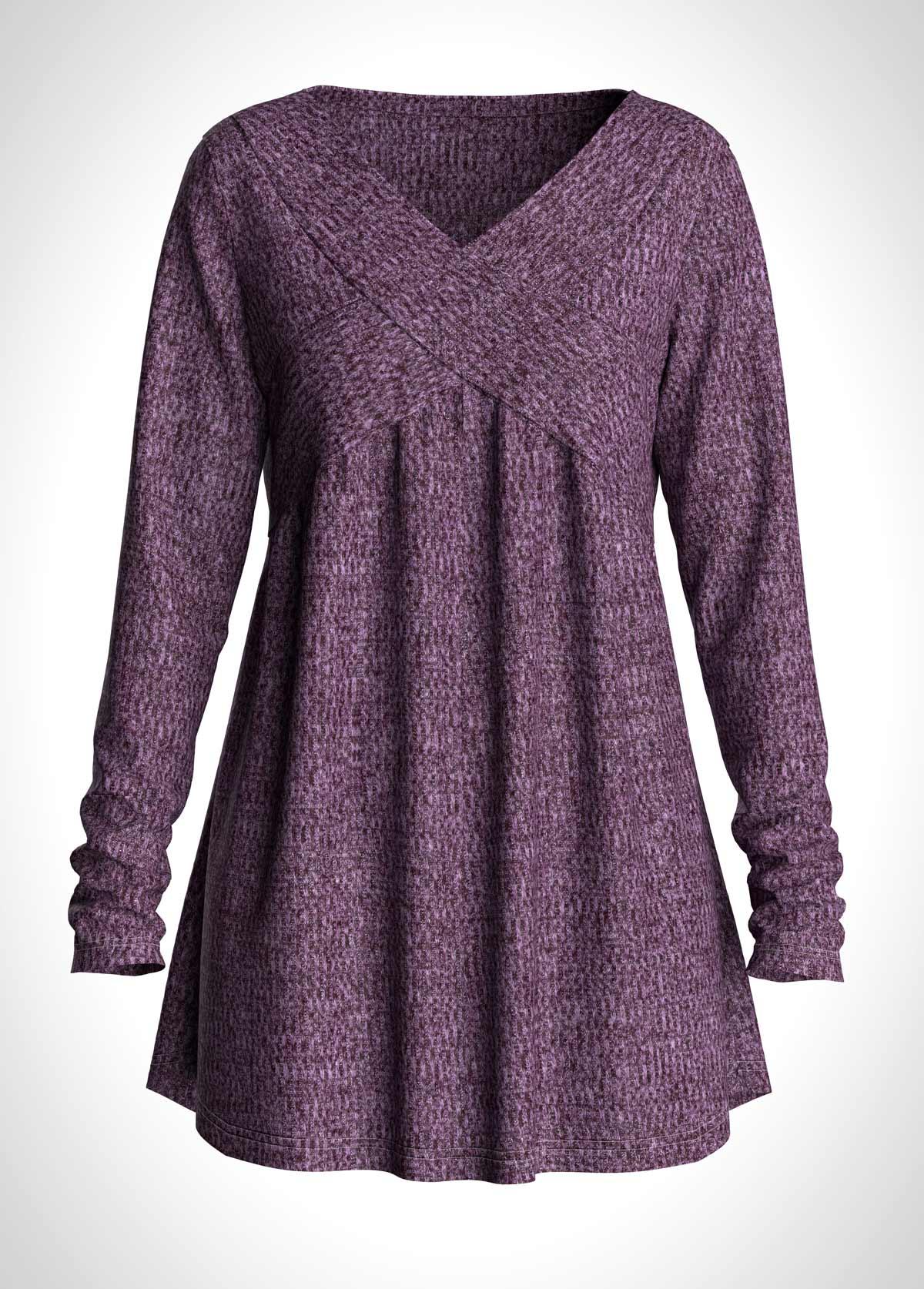 ROTITA Long Sleeve V Neck Purple T Shirt