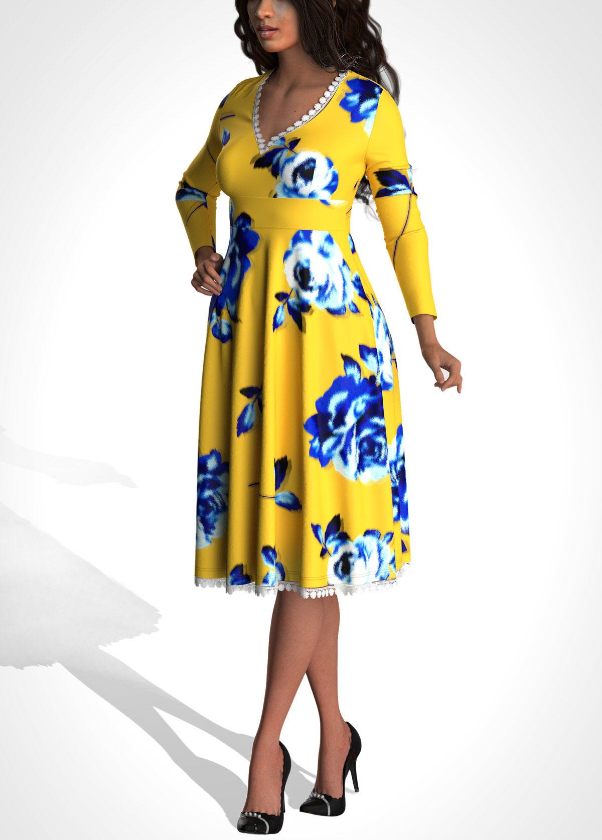 ROTITA Floral Print Long Sleeve V Neck Dress