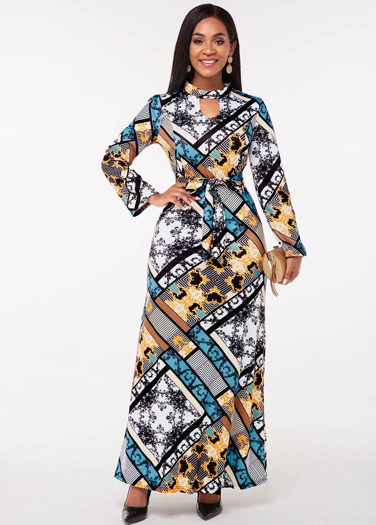 Keyhole Neckline Tribal Print Long Sleeve Dress