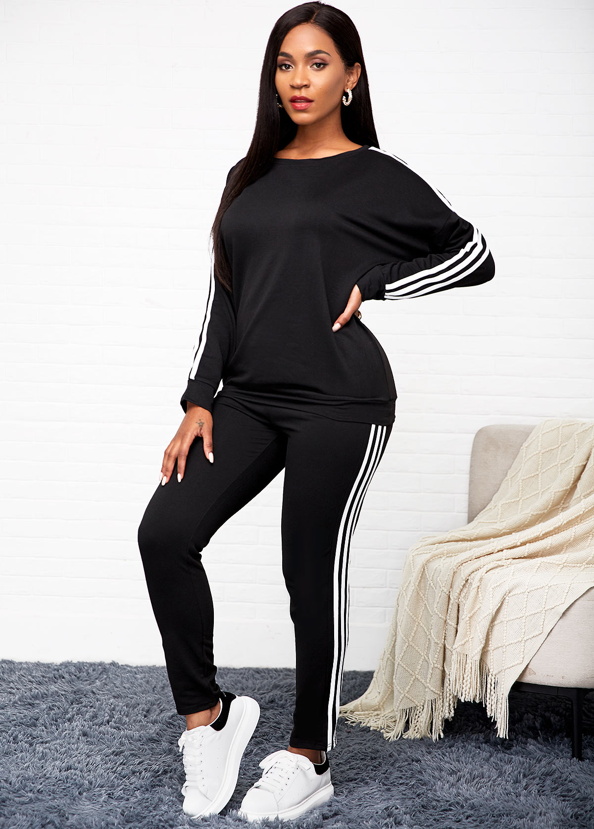 Long Sleeve Striped Black Top and Pants