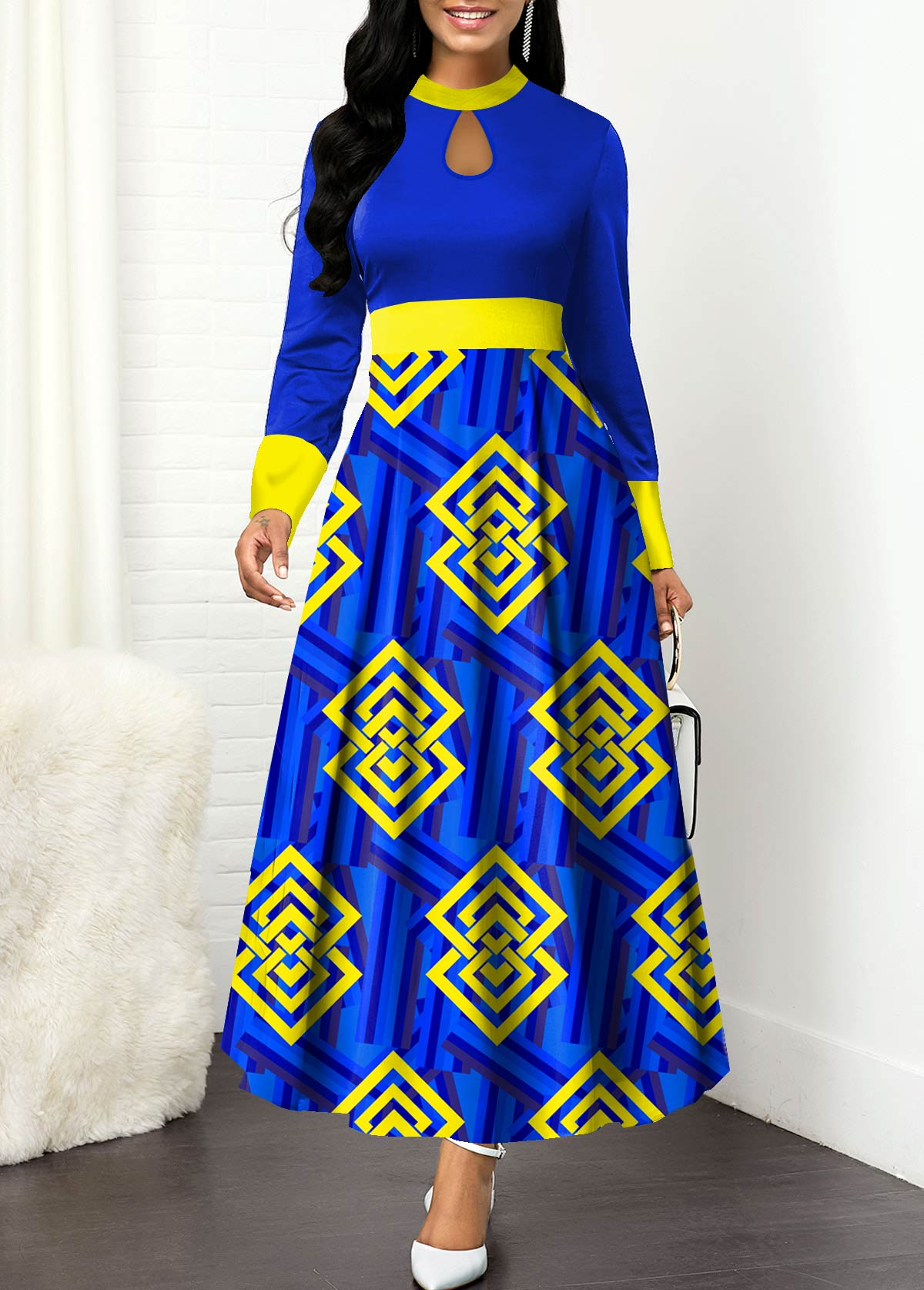 ROTITA Keyhole Neckline Long Sleeve Tribal Print Maxi Dress