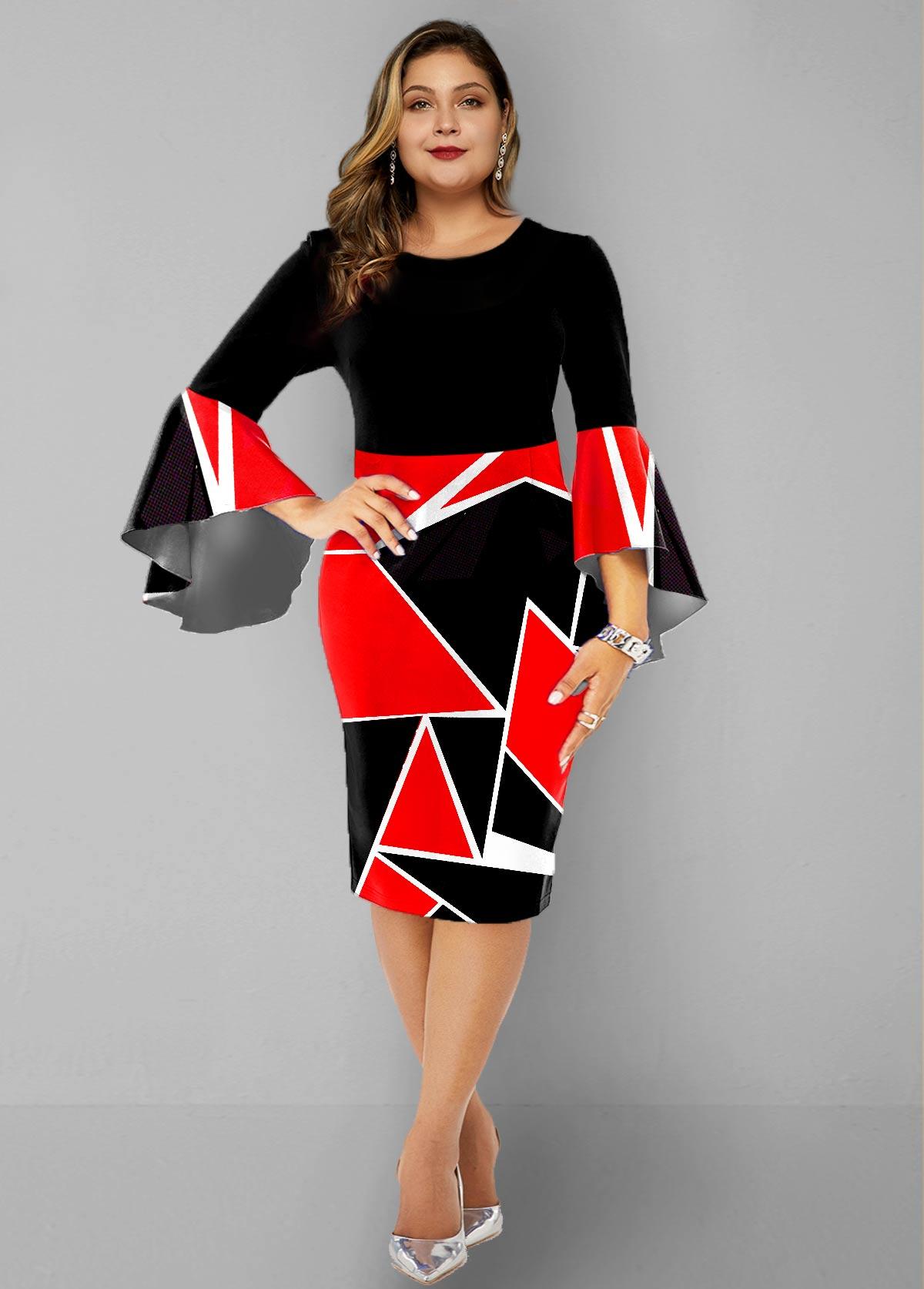 ROTITA Plus Size Flare Sleeve Geometric Print Dress