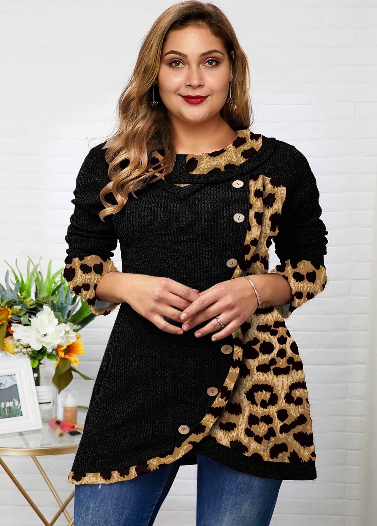 ROTITA Plus Size Asymmetric Hem Button Leopard Tunic Top