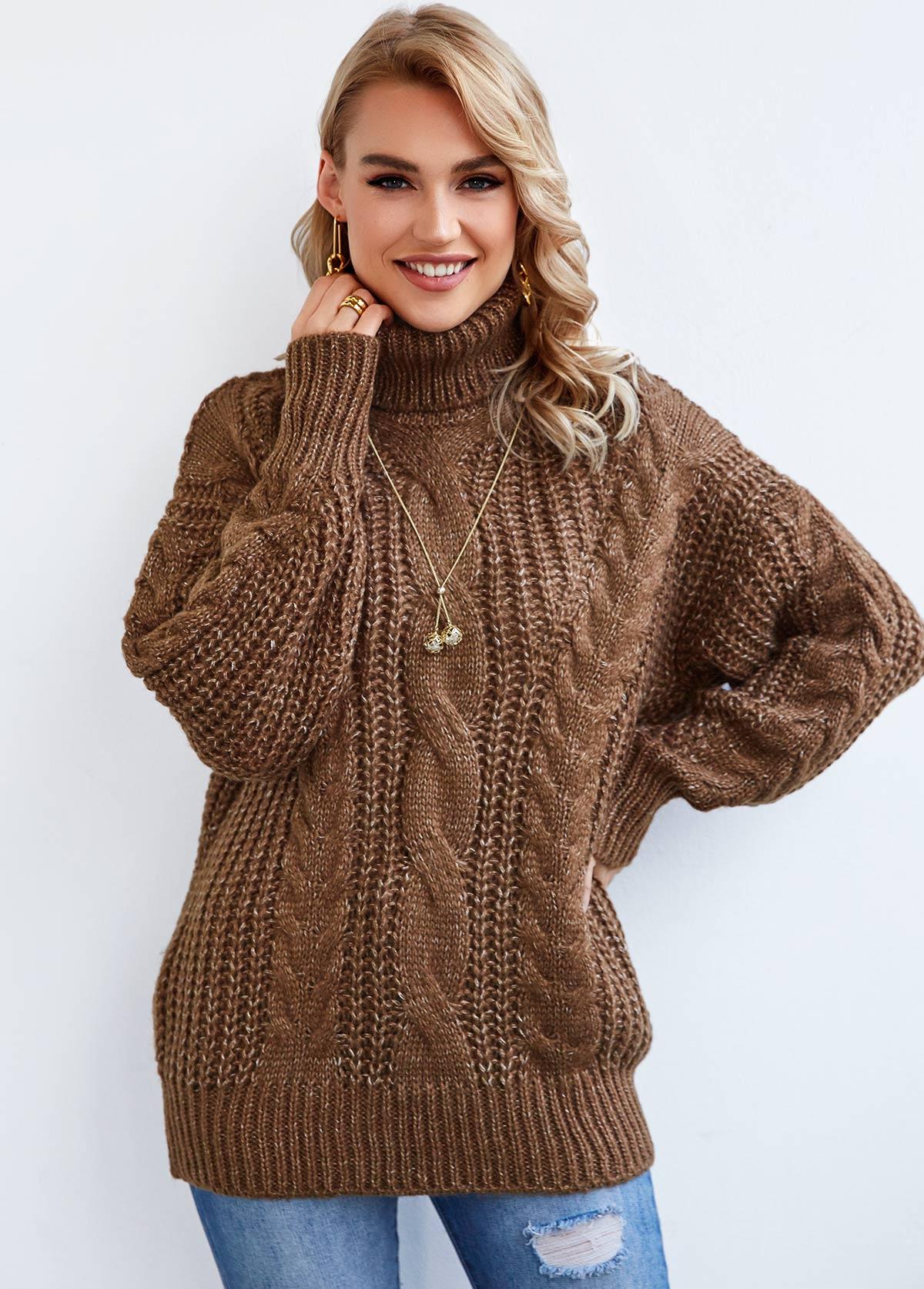 Twisted Pattern Long Sleeve Turtleneck Sweater