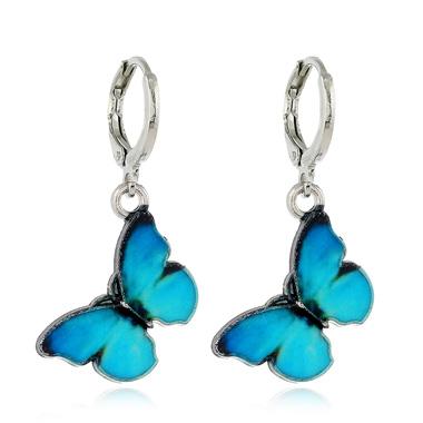 Metal Blue Butterfly Shape Earring Set