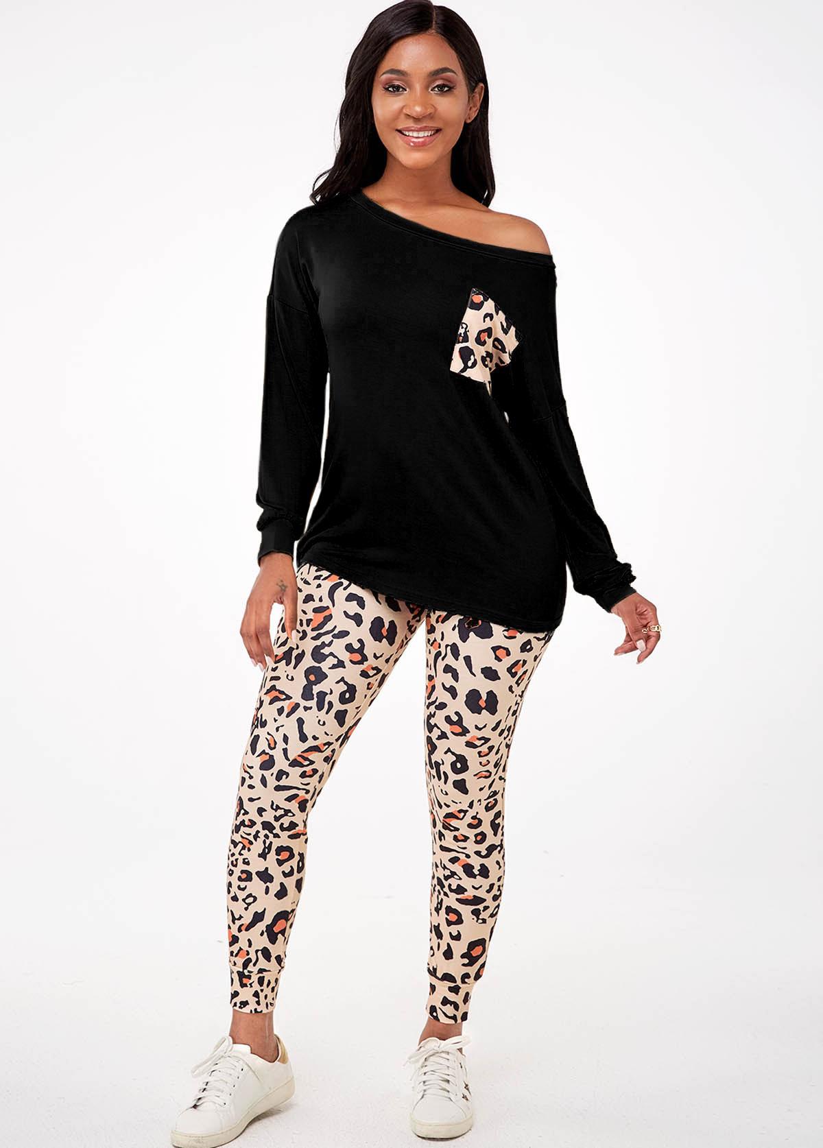 Long Sleeve Leopard Pocket Loungewear Set