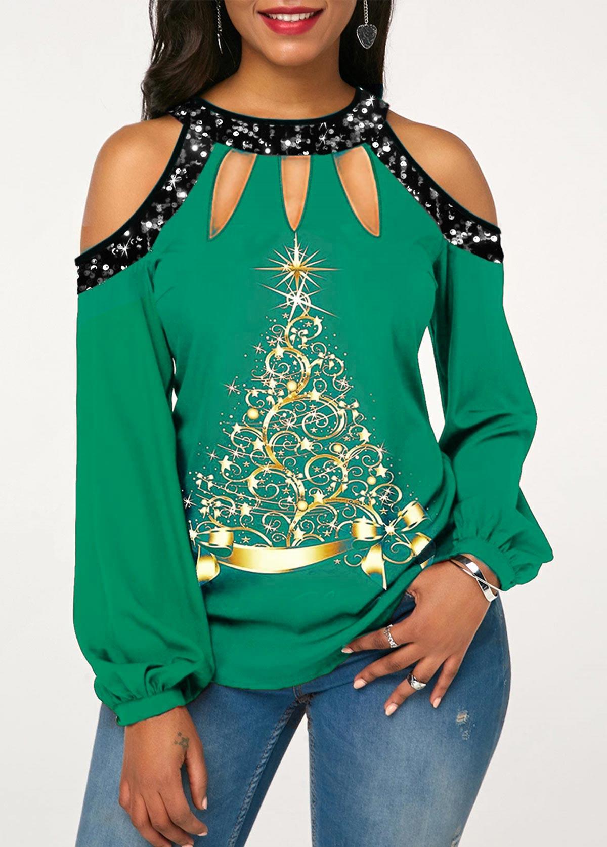 ROTITA Christmas Tree Print Cold Shoulder Sequin T Shirt