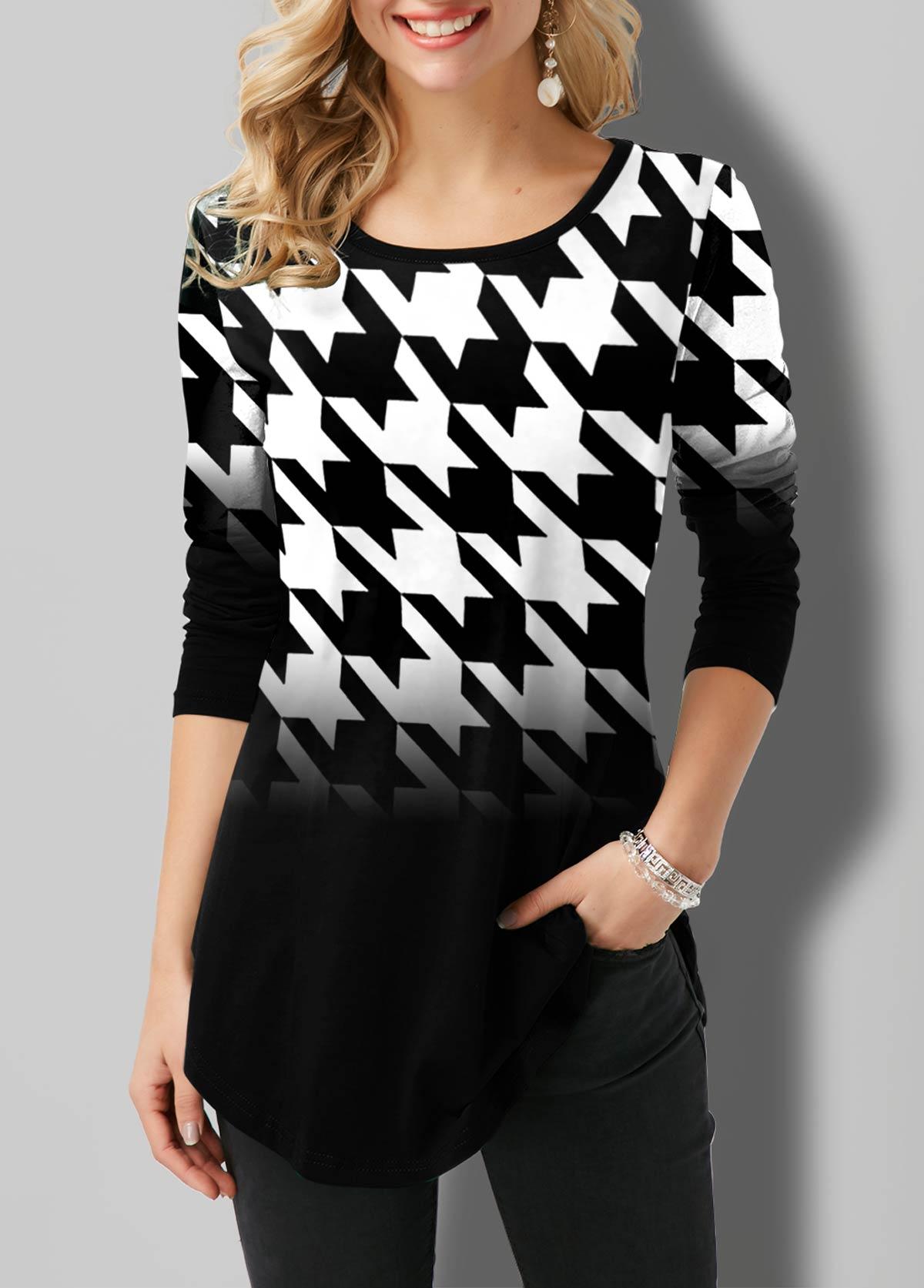 ROTITA Ombre Houndstooth Print Round Neck T Shirt