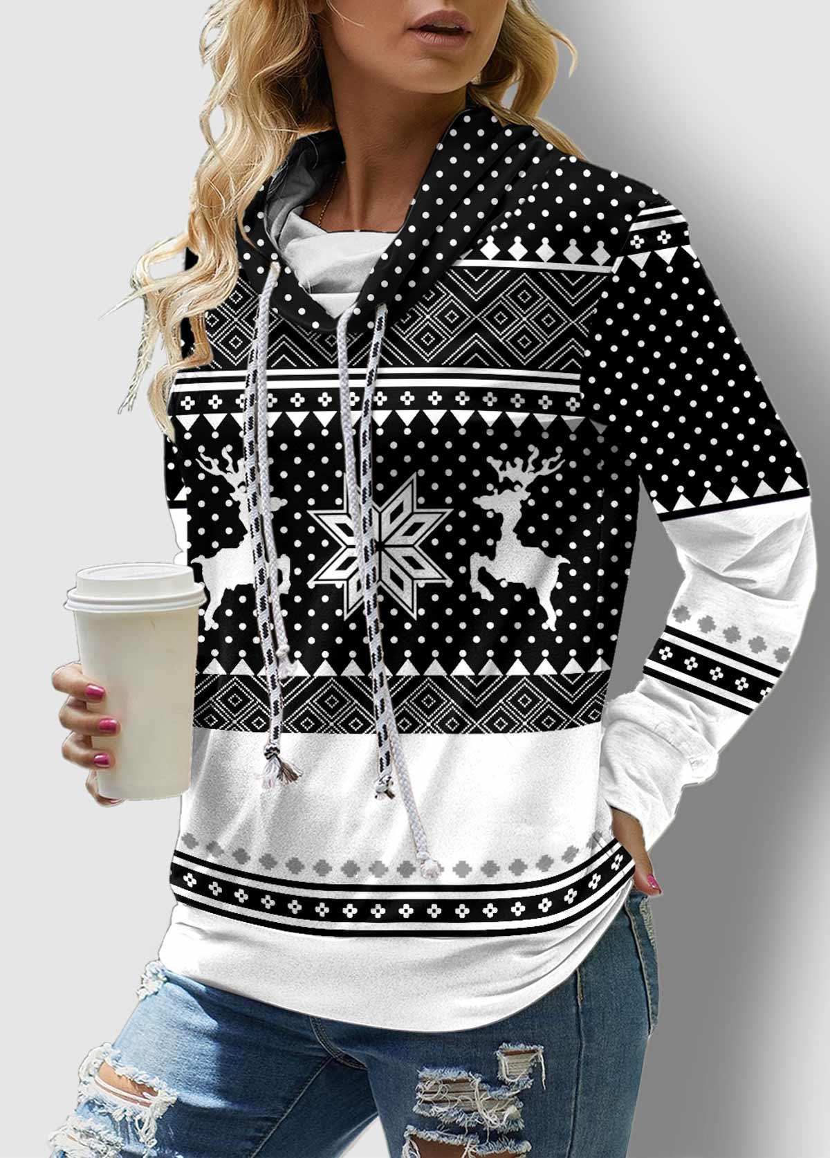 ROTITA Drawstring Neck Christmas Print Long Sleeve Sweatshirt
