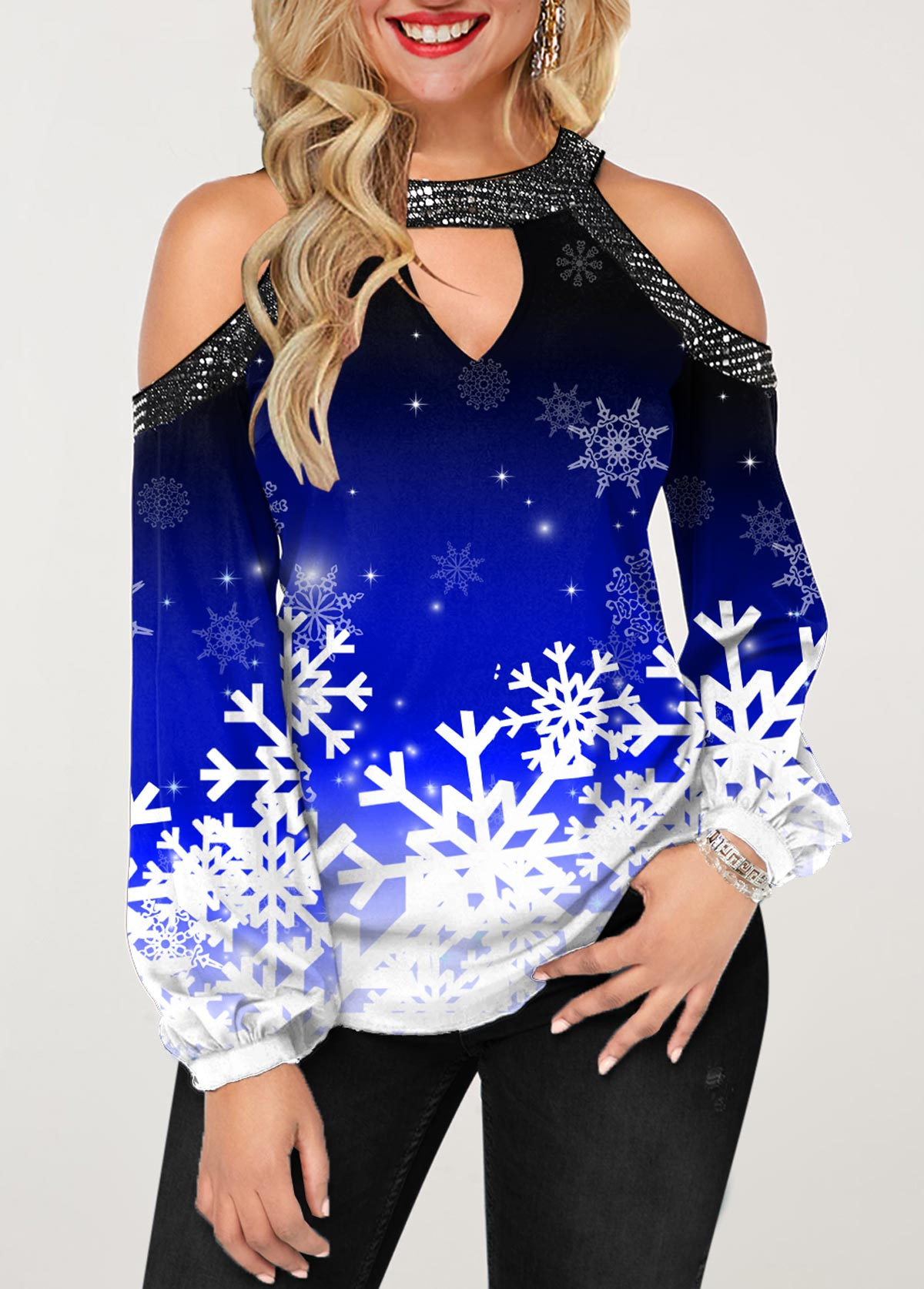 ROTITA Christmas Snowflake Print Cold Shoulder T Shirt