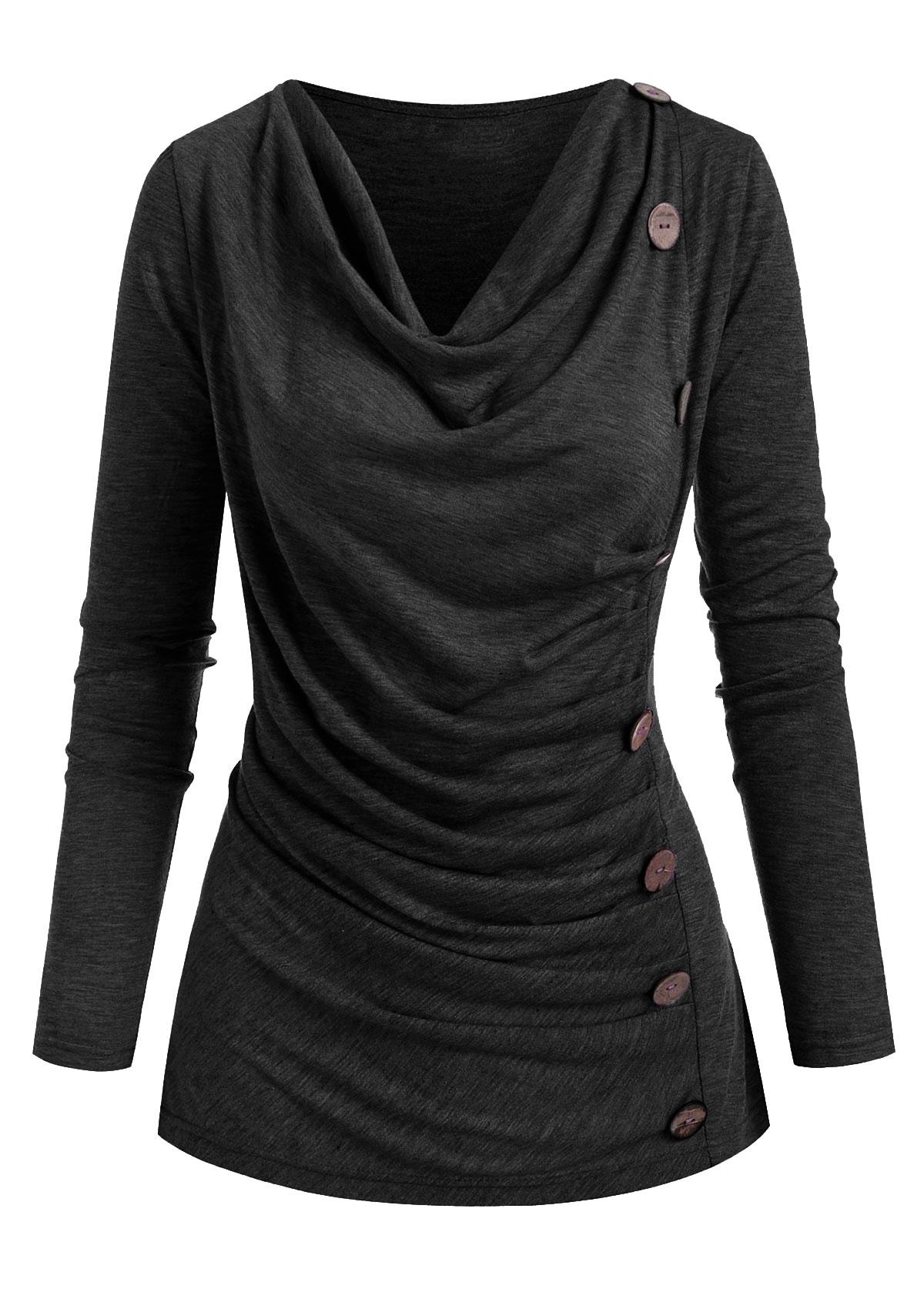 ROTITA Cowl Neck Ruched Button Detail T Shirt