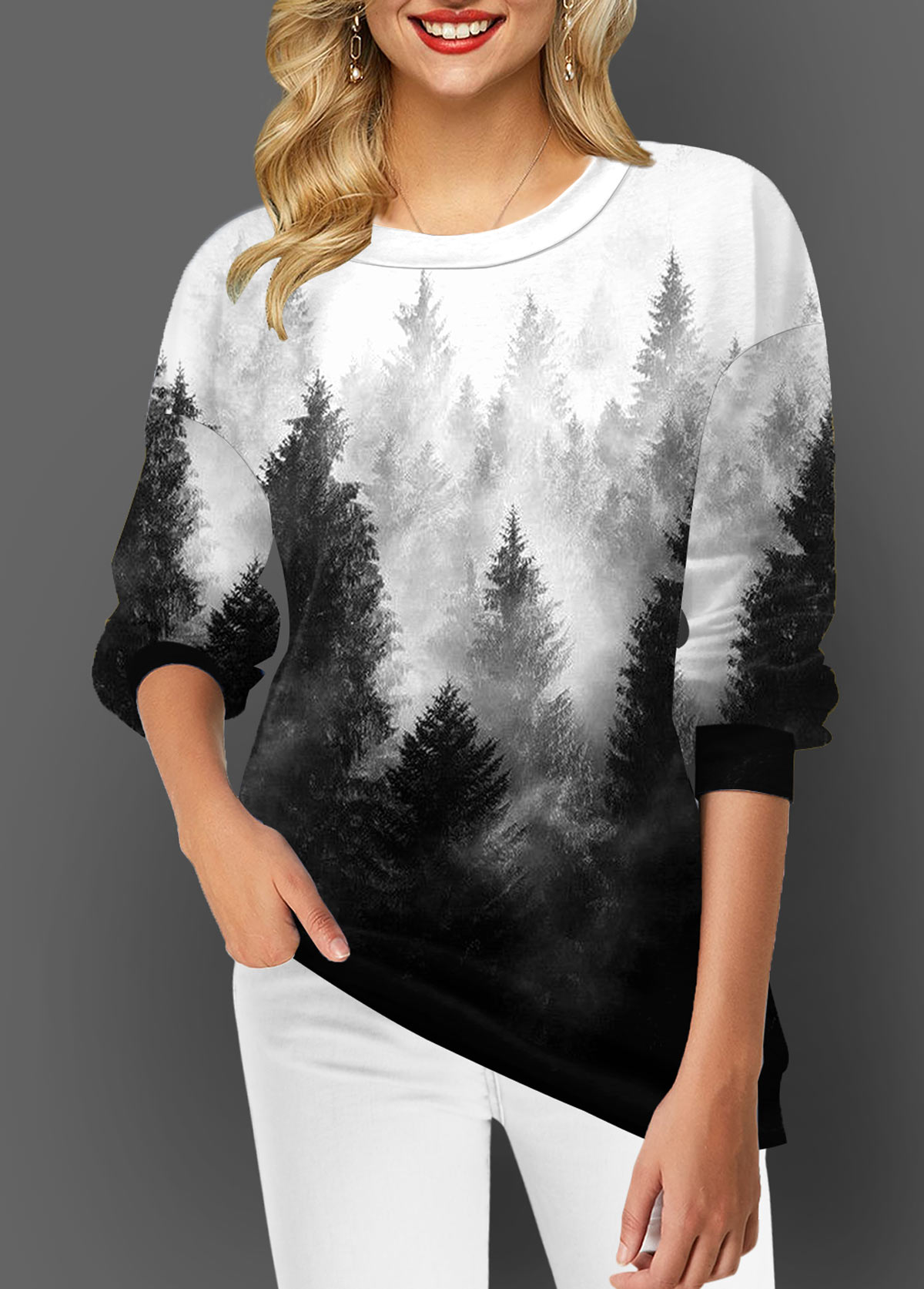 ROTITA Forest Print Long Sleeve Ombre T Shirt