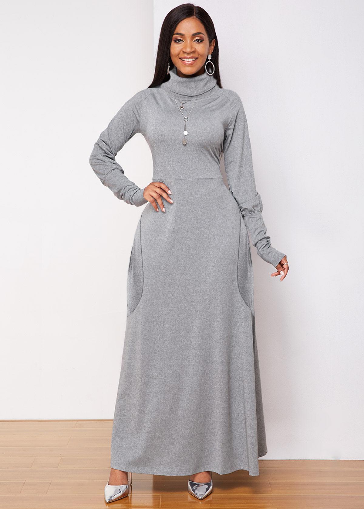 ROTITA Long Sleeve Side Pocket Turtleneck Dress