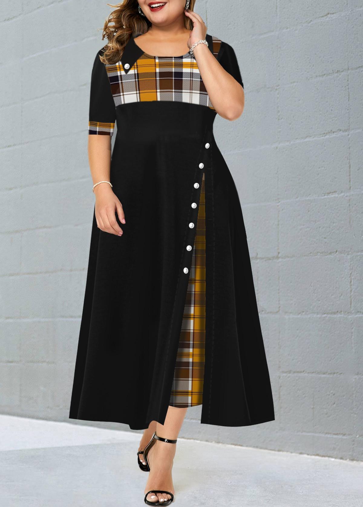 ROTITA Plus Size Contrast Plaid Maxi Dress