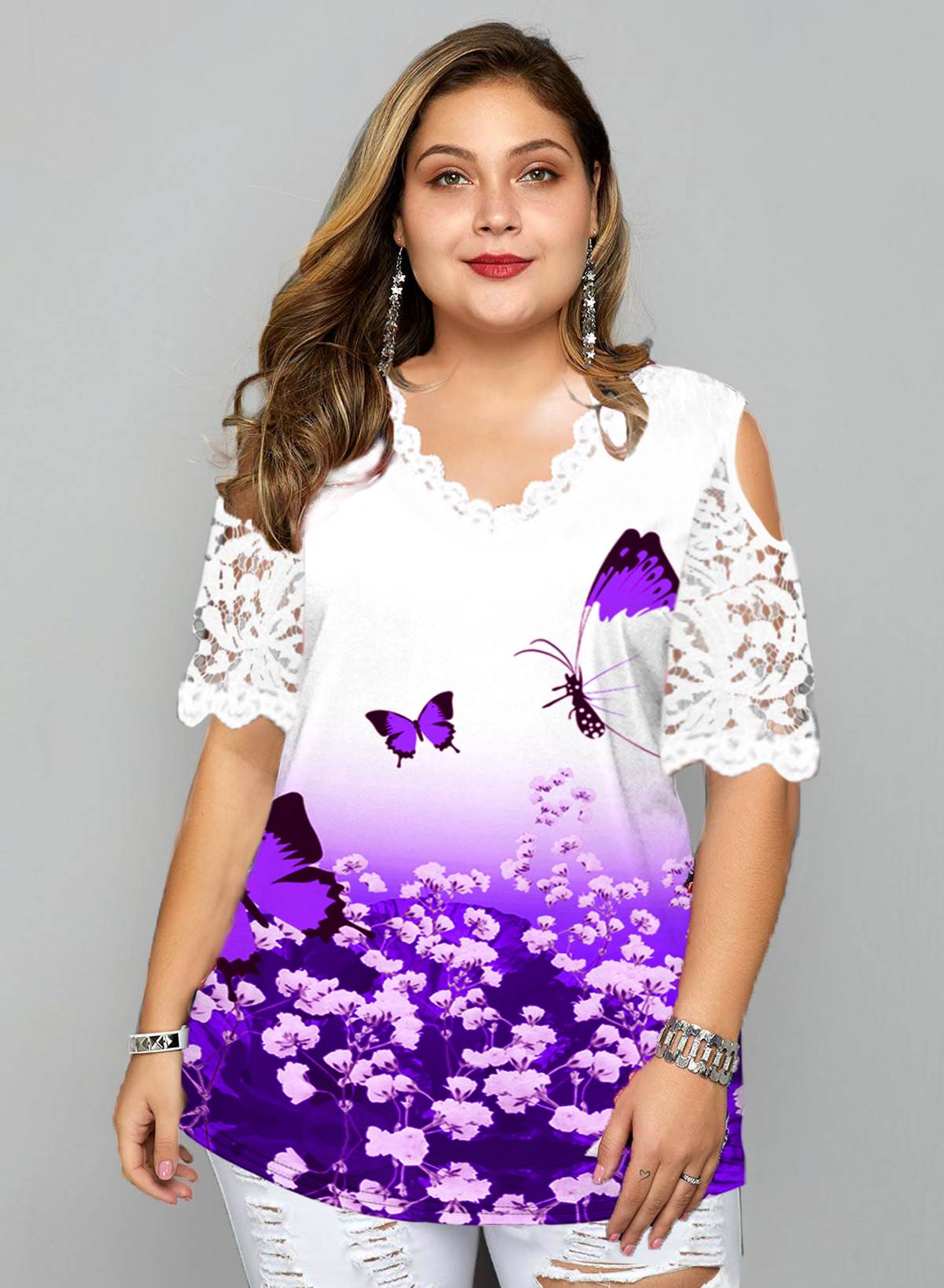 ROTITA Plus Size Butterfly Print Lace Stitching T Shirt