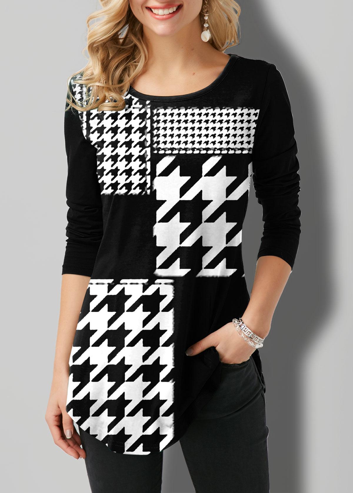 ROTITA Round Neck Houndstooth Print Long Sleeve T Shirt