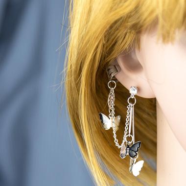 Metal Butterfly Design Silver Earring Set