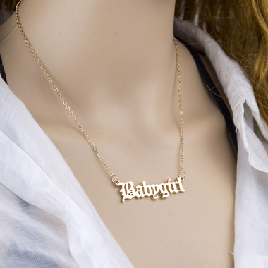 Letter Design Metal Chain Gold Necklace