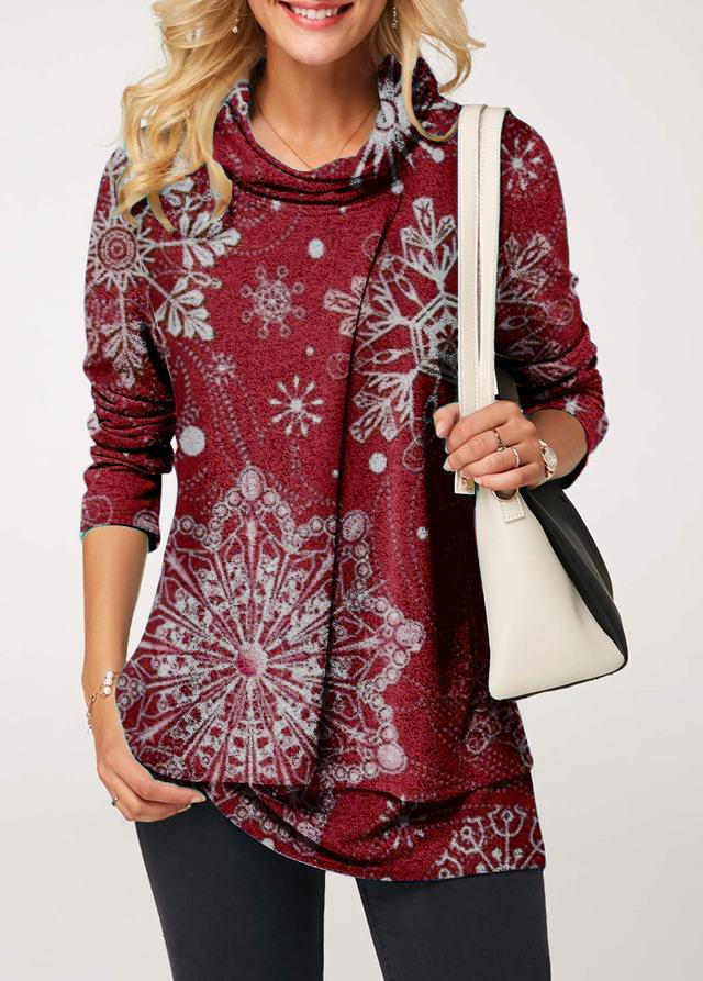 ROTITA Snowflake Print Faux Two Piece Sweatshirt