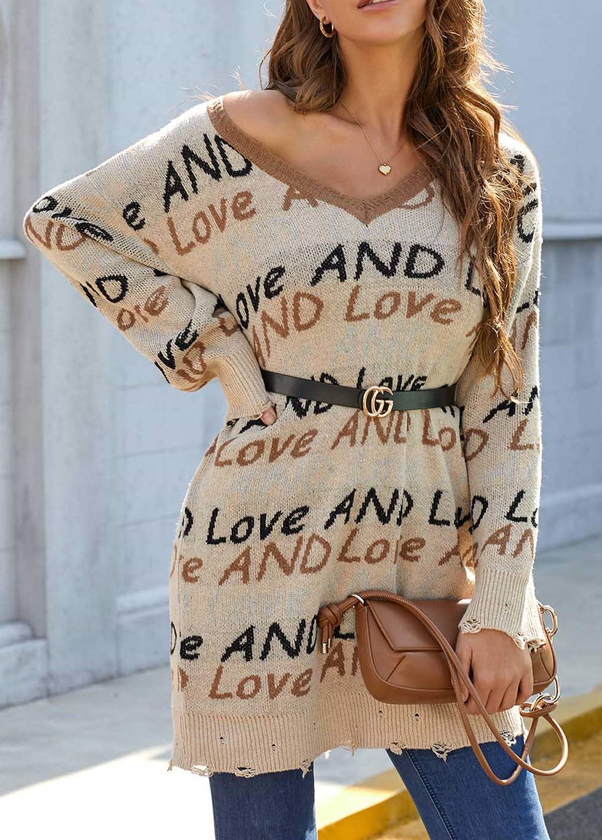 Long Sleeve V Neck Letter Pattern Sweater