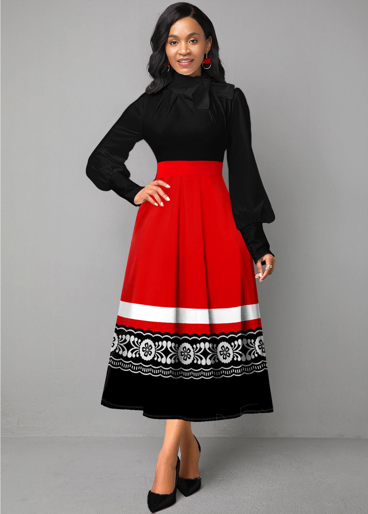 ROTITA Tribal Print Lantern Sleeve Bowknot Dress