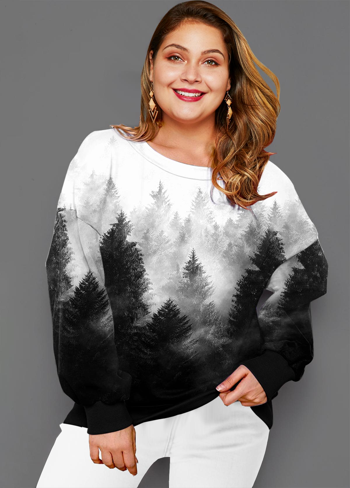 ROTITA Plus Size Ombre Forest Print T Shirt