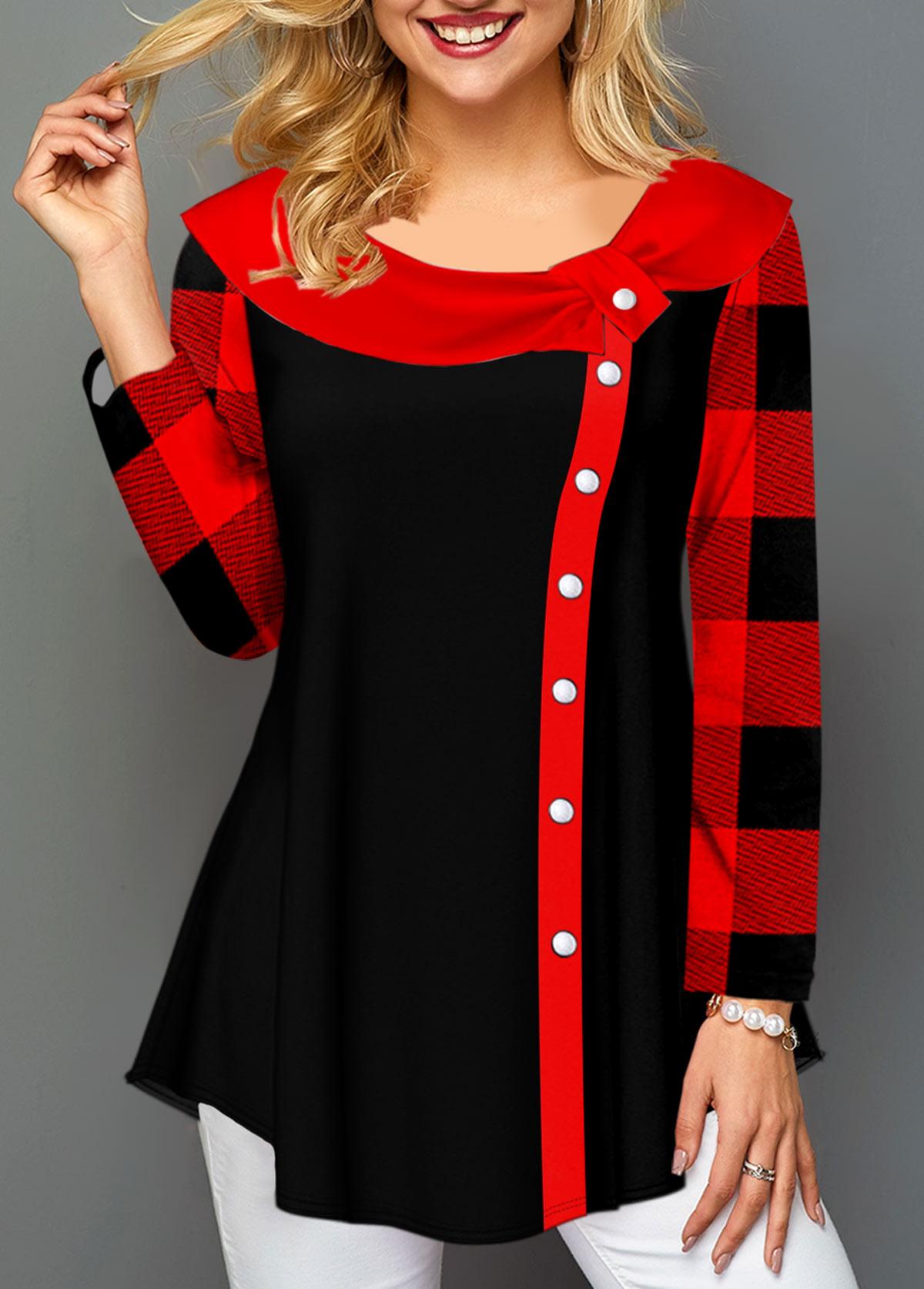 ROTITA Long Sleeve Contrast Plaid T Shirt