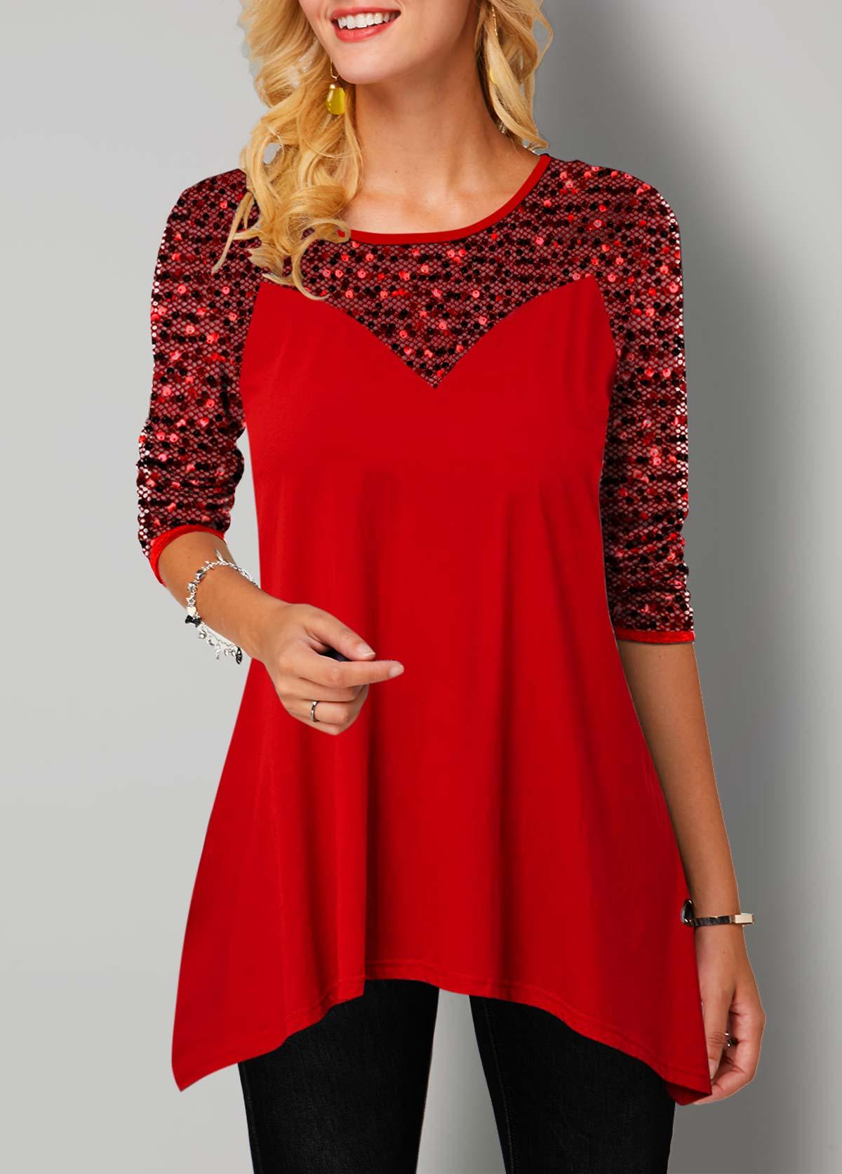 ROTITA Asymmetric Hem Long Sleeve Sequin T Shirt