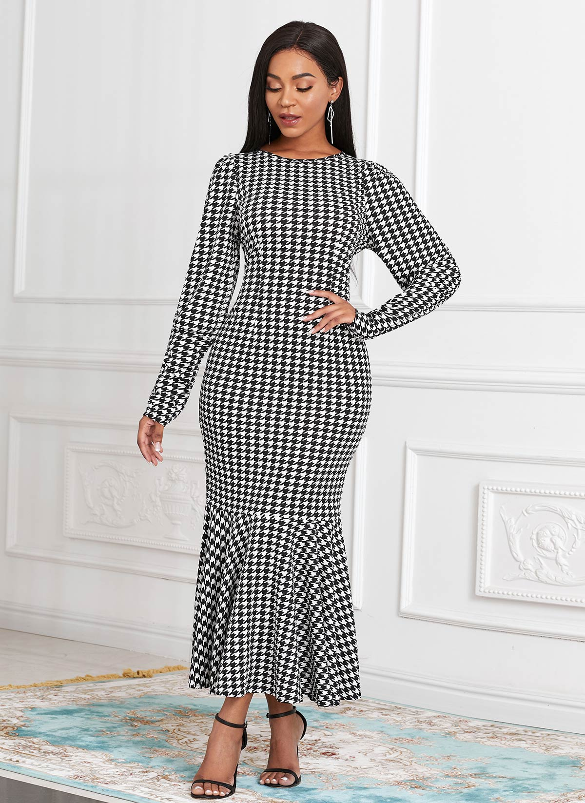 ROTITA Plus Size Houndstooth Print Mermaid Dress