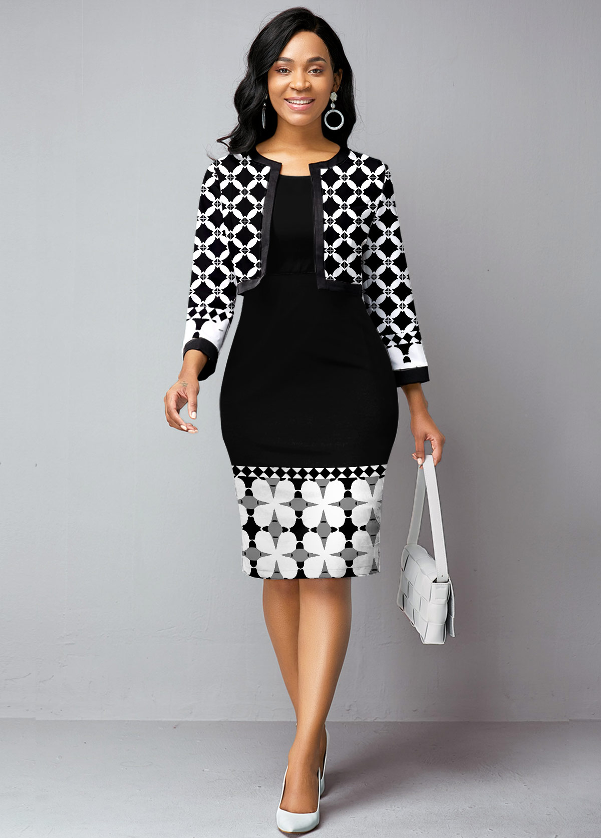 ROTITA Tribal Print Open Front Cardigan and Dress