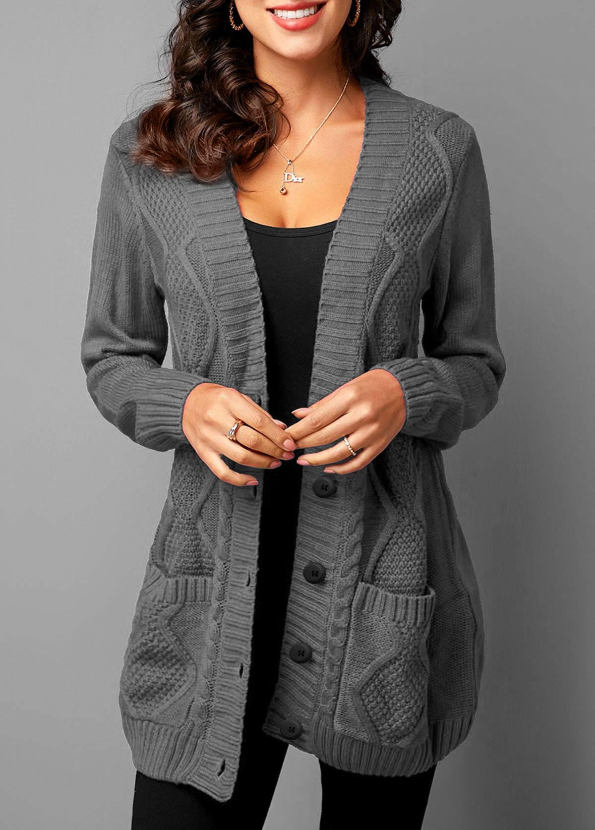 ROTITA Button Up Rib Knit Pocket Detail Cardigan