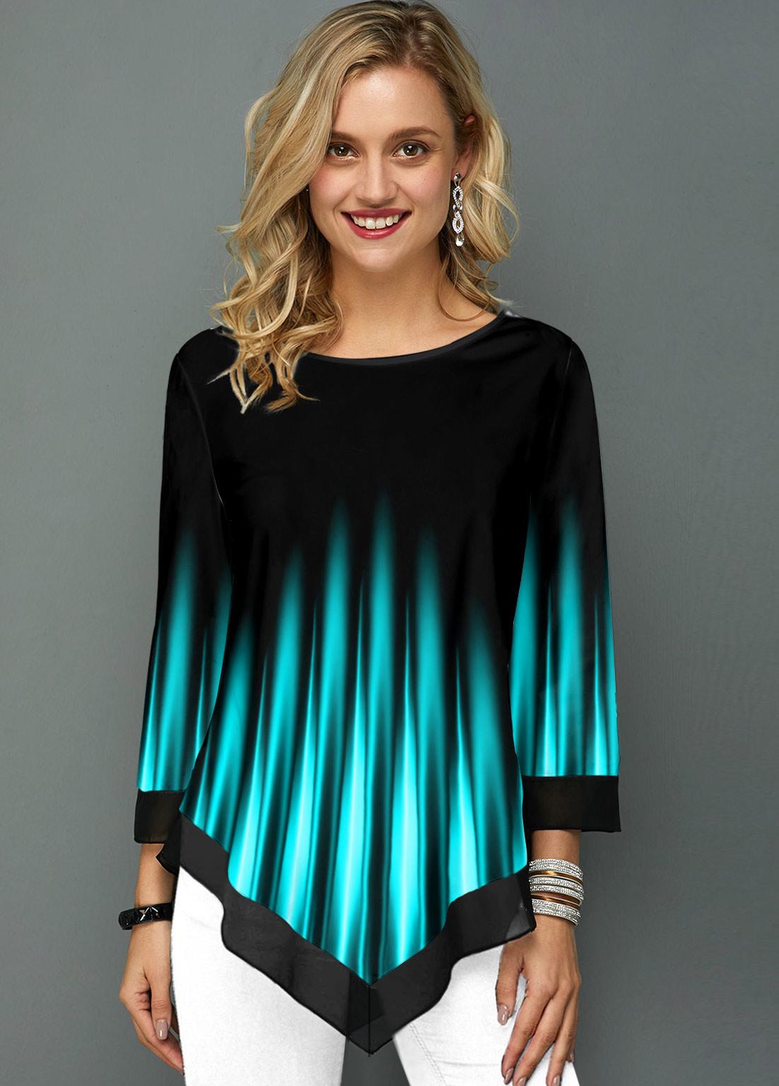 ROTITA Printed Asymmetric Hem Ombre Round Neck T Shirt