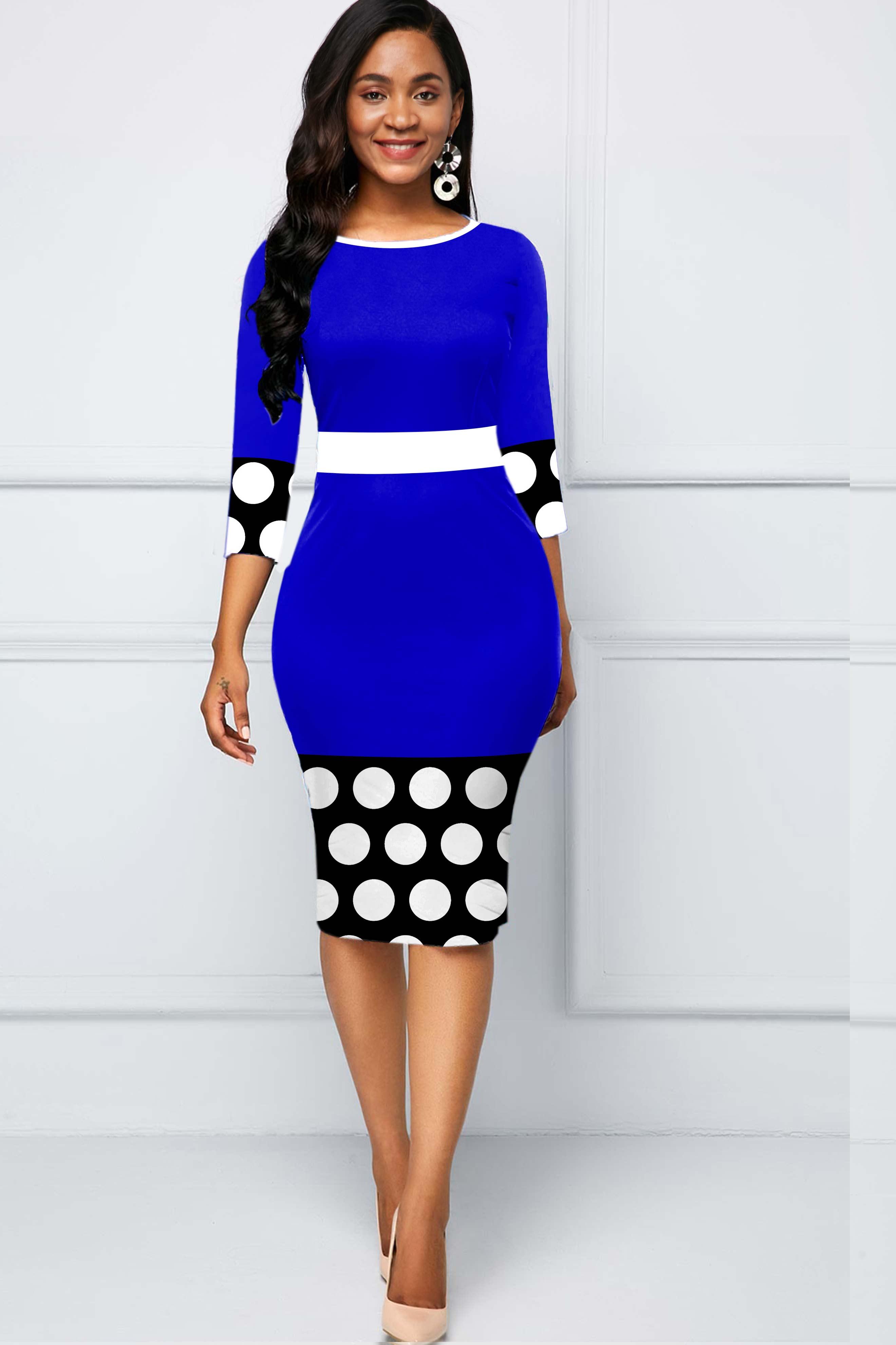 ROTITA Contrast Polka Dot Round Neck Dress