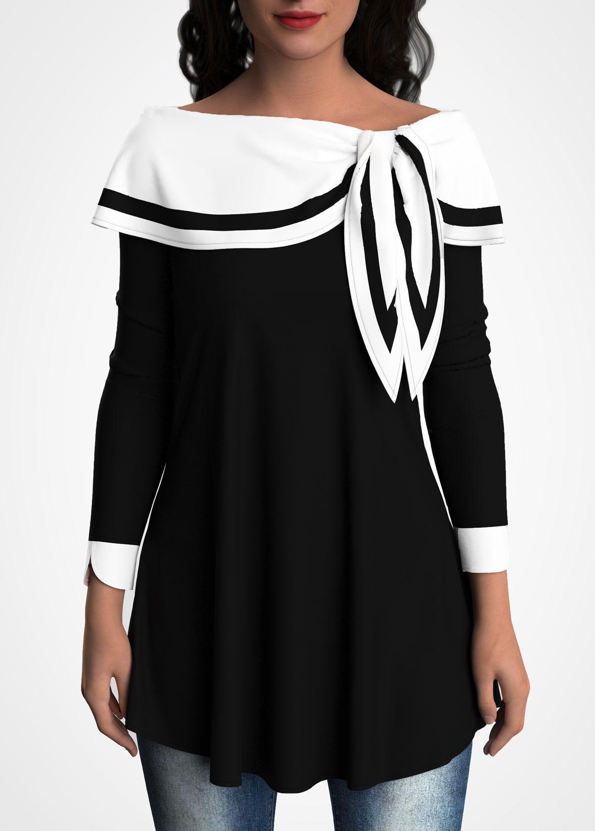 ROTITA Sailor Collar Tulip Sleeve Contrast Tunic Top