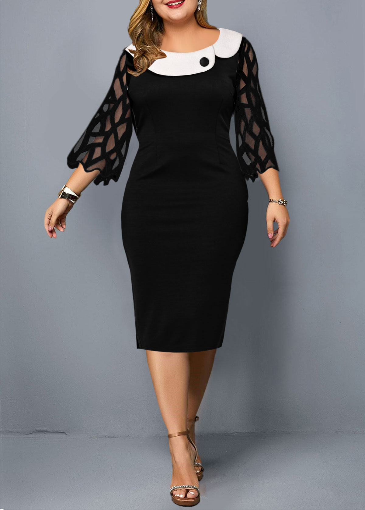 ROTITA Plus Size Mesh Stitching Contrast Dress