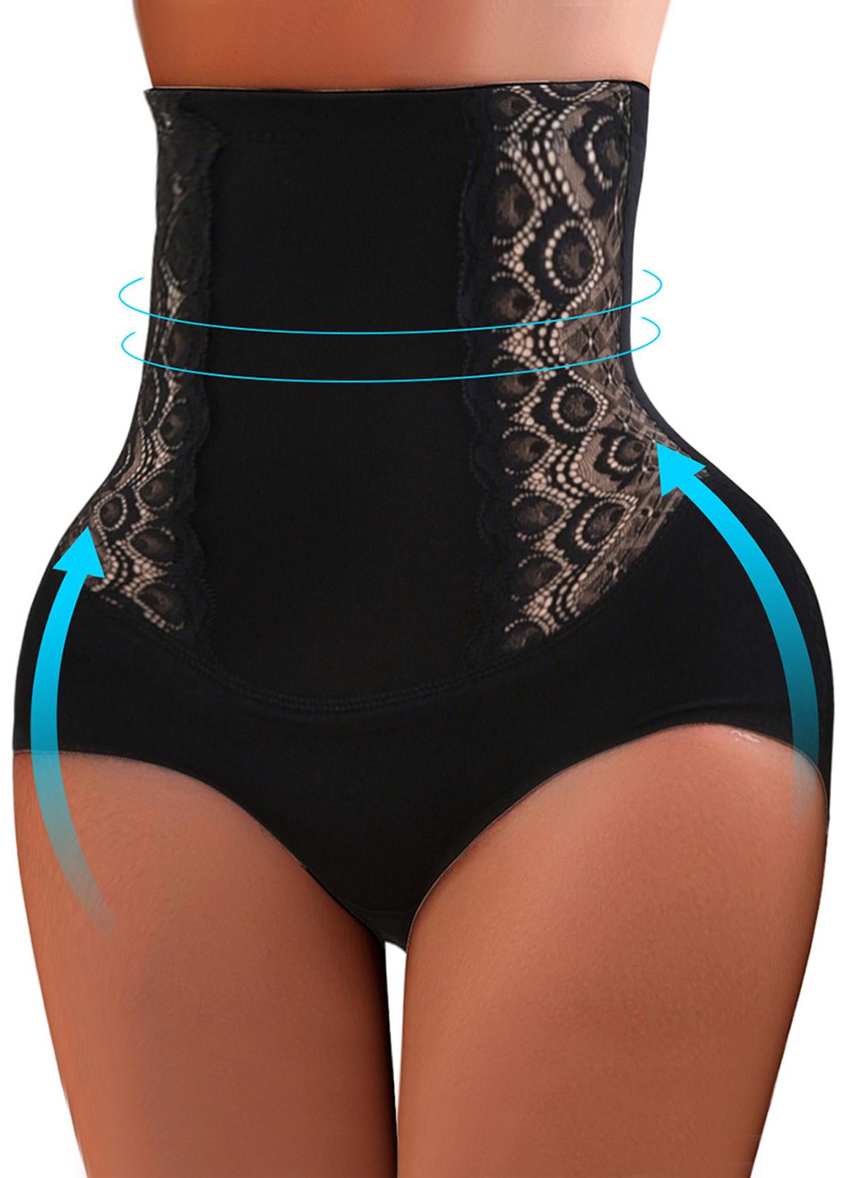 High Waist Black Embroidered Shapewear Panty