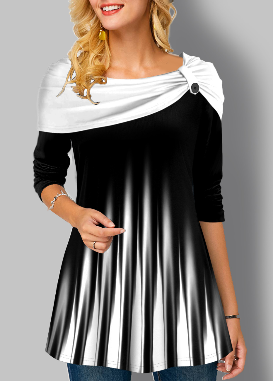 ROTITA Striped Long Sleeve Ombre Tunic Top