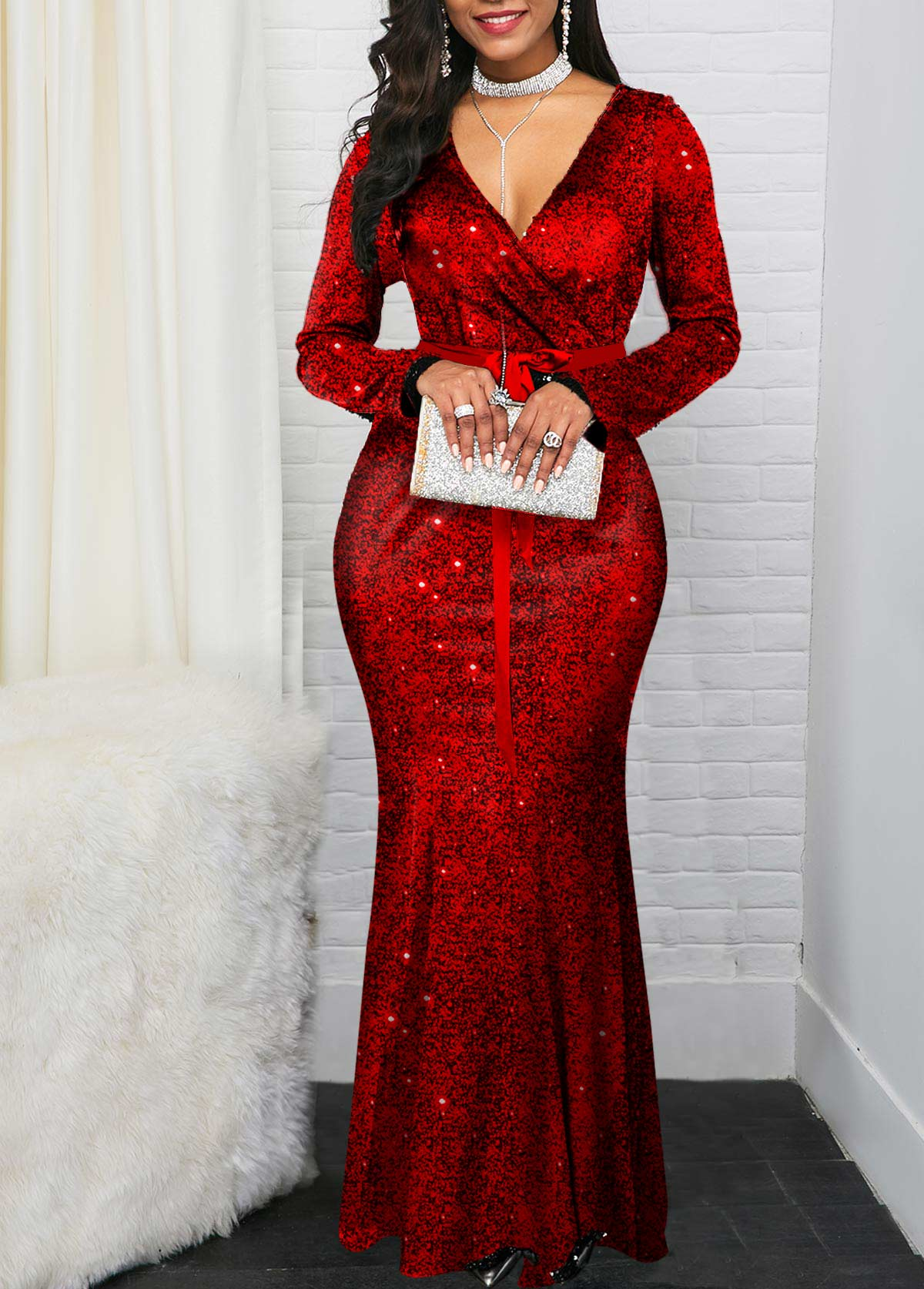 ROTITA Long Sleeve V Neck Shining Mermaid Dress
